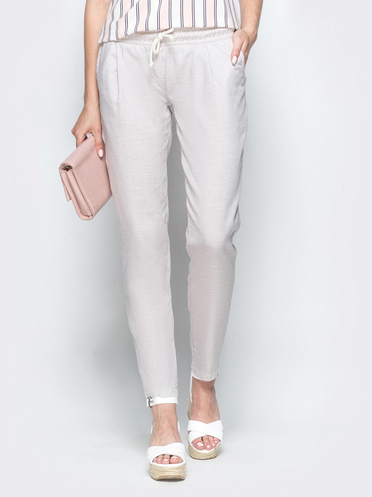 Бежевые брюки из льна с резинкой по талии 39403, фото 1