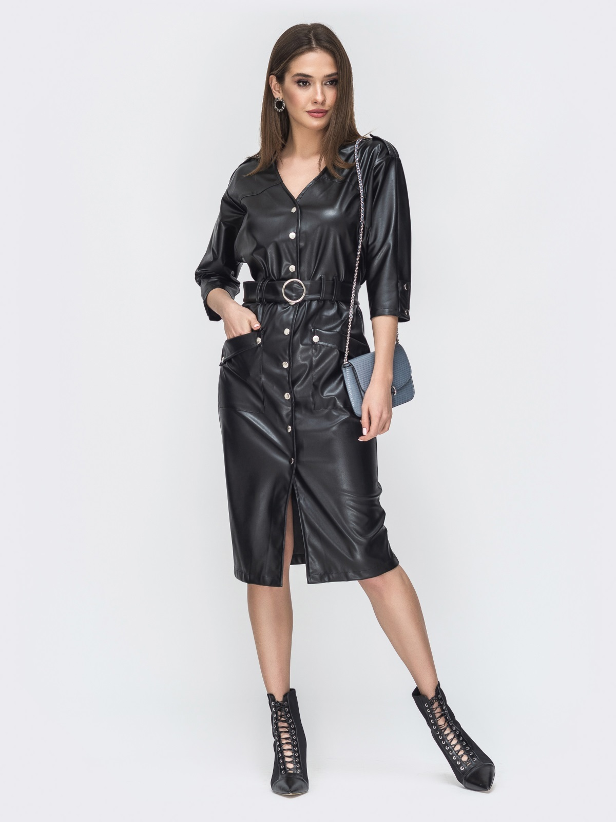 Чёрное платье из эко-кожи с накладными карманами 44950, фото 1