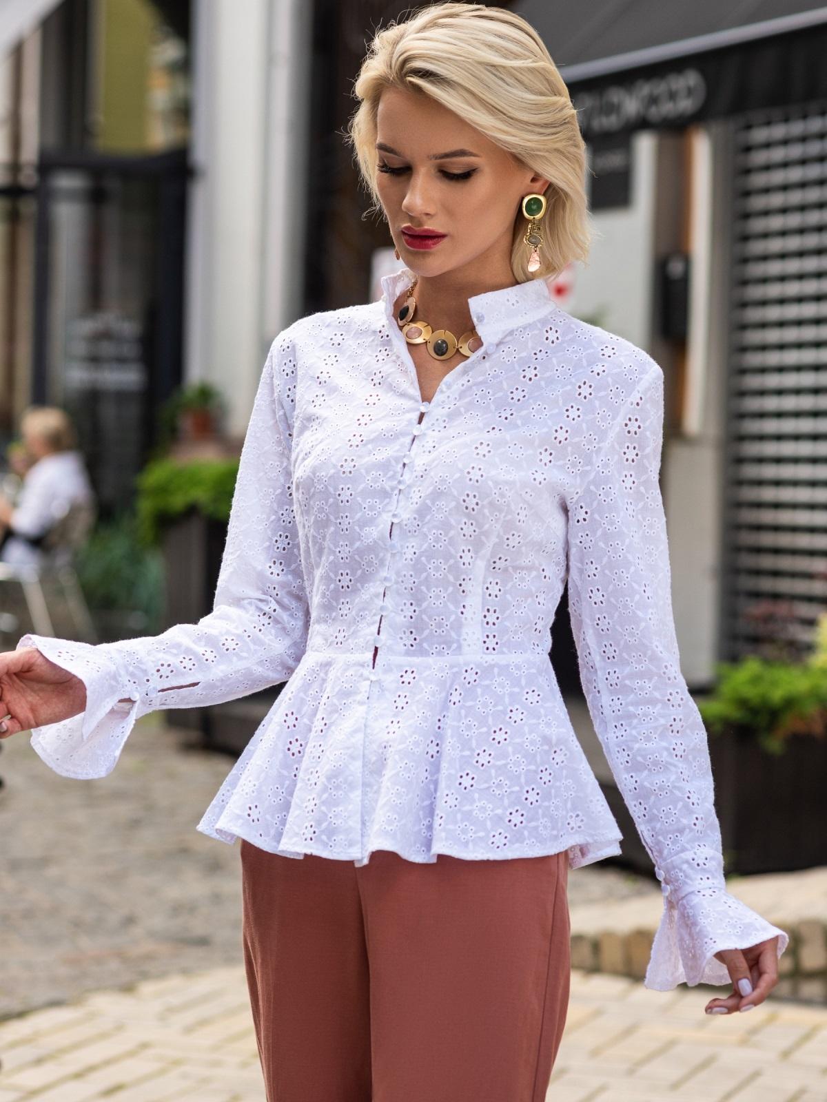 Блузка из прошвы с баской и воротником-стойкой белая 49759, фото 1