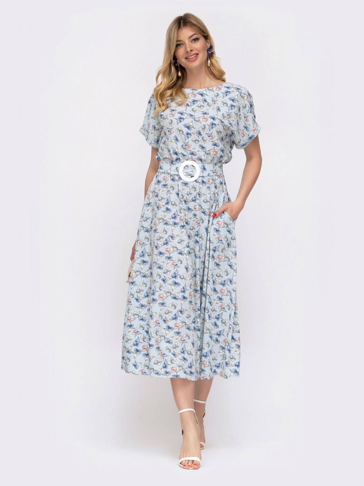 Расклешенное платье с принтом и напуском по талии голубое 48037, фото 1