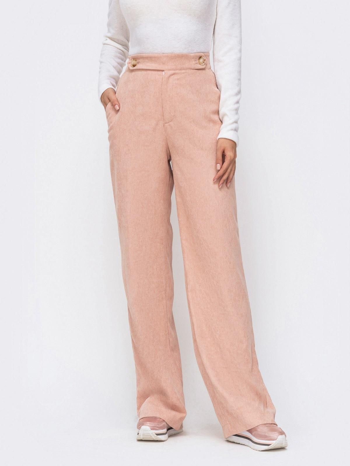 Вельветовые брюки с завышенной талией пудровые 41723, фото 1