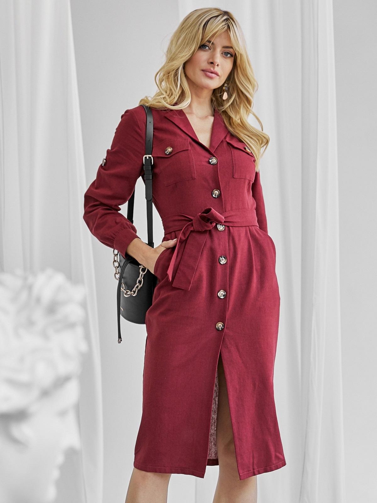 Льняное платье-рубашка бордового цвета со шлевками на рукавах 50072, фото 1
