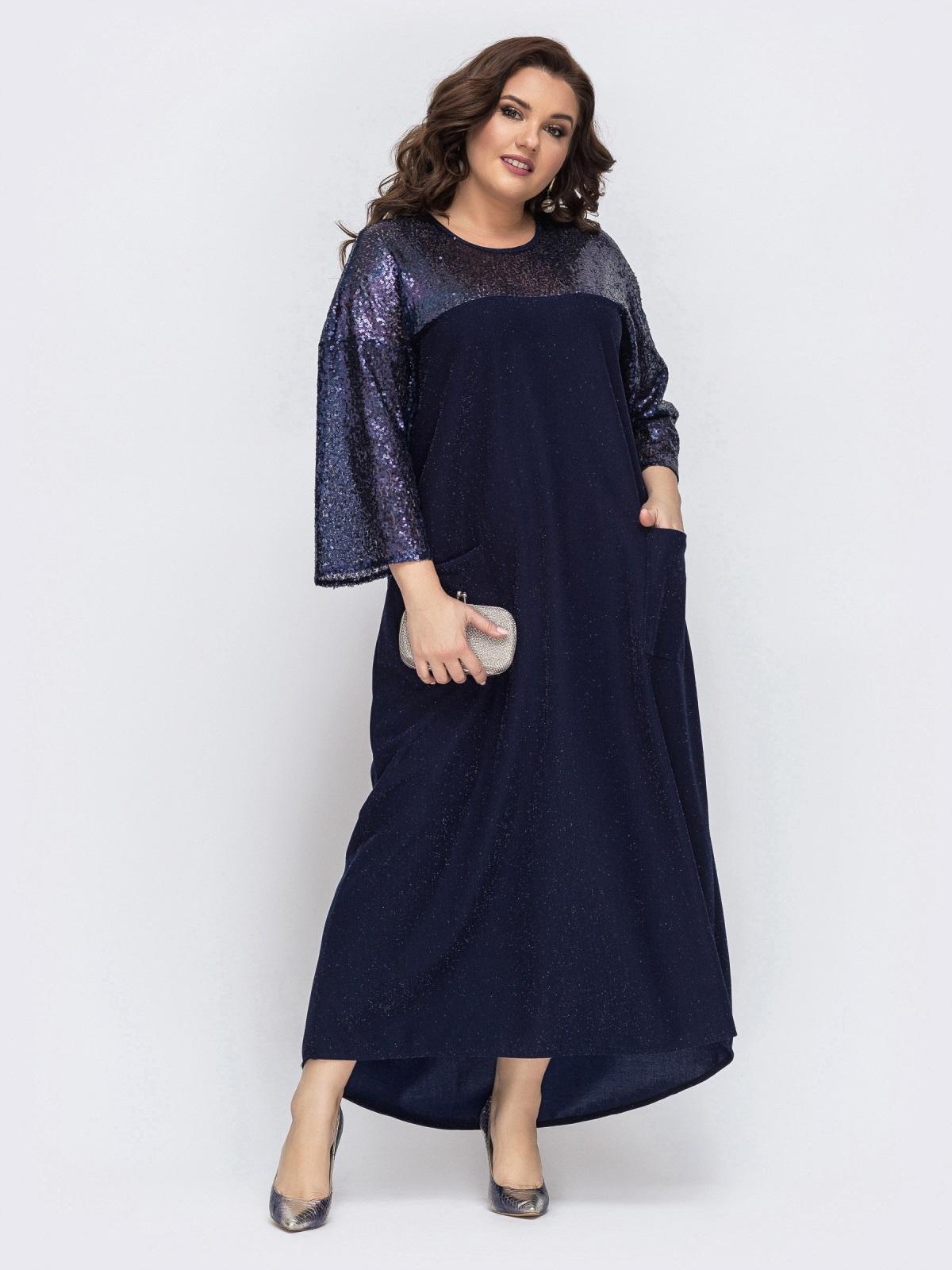 Тёмно-синее платье со вставками из пайеток 43205, фото 1