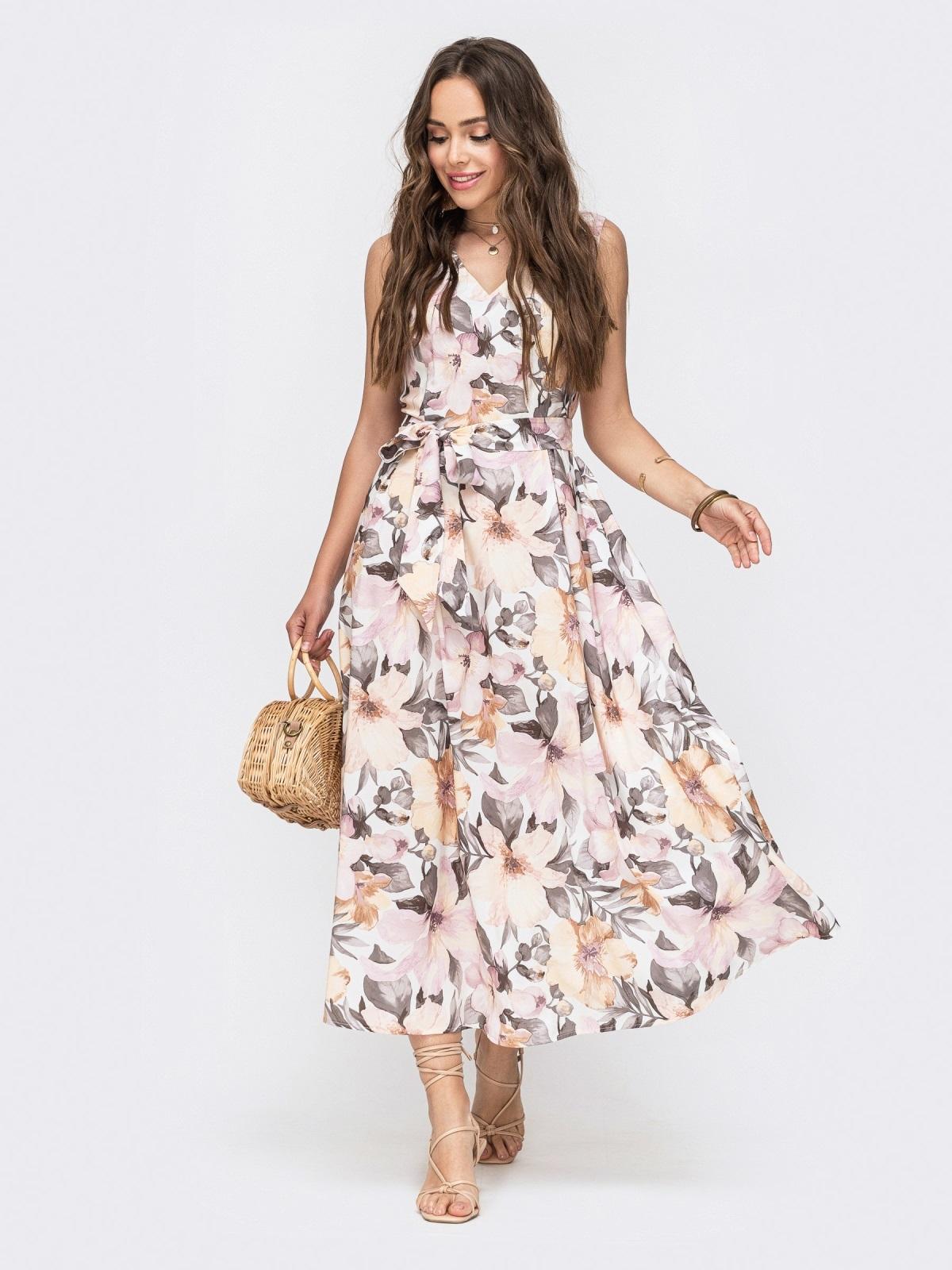 Белое платье с цветочным принтом и V-вырезом 49342, фото 1