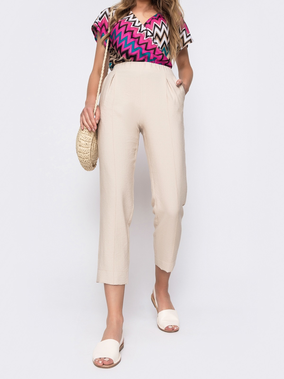 Бежевые брюки из льна с резинкой по талии 48438, фото 1