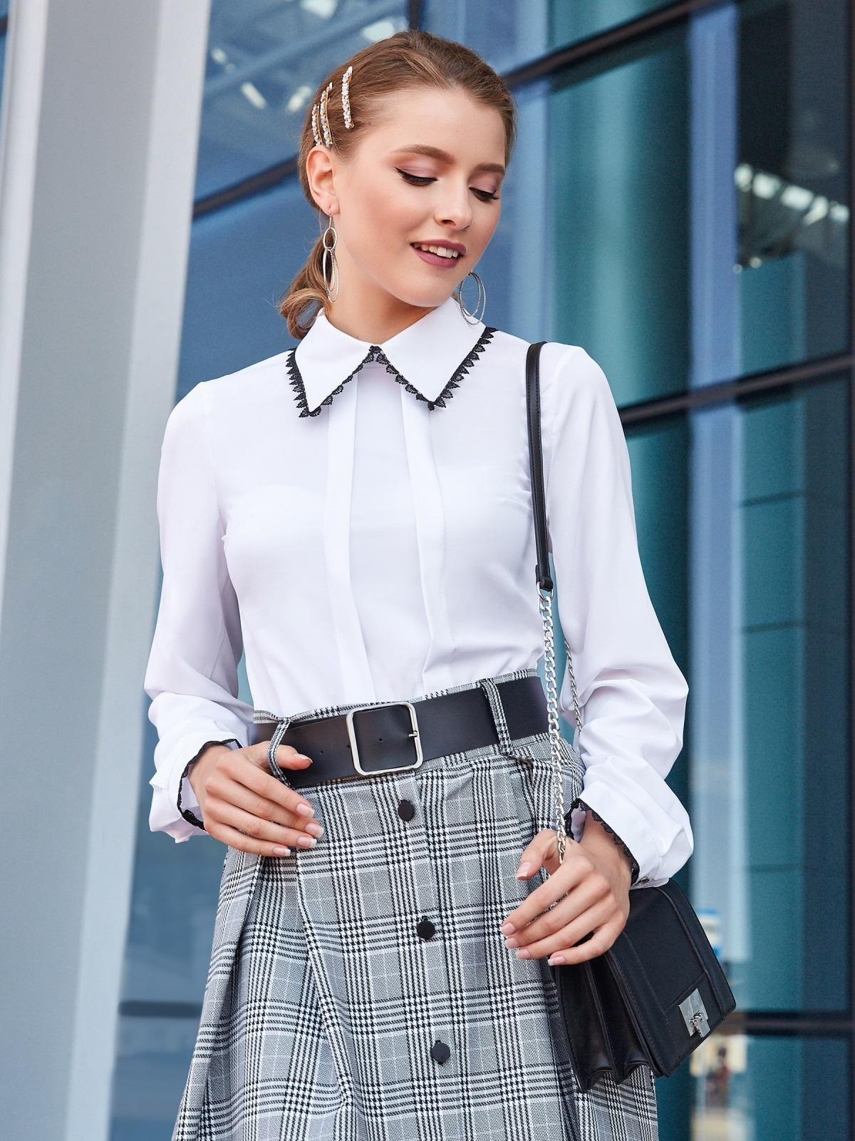 Белая блузка с кружевом на воротнике и манжетах 39894, фото 1
