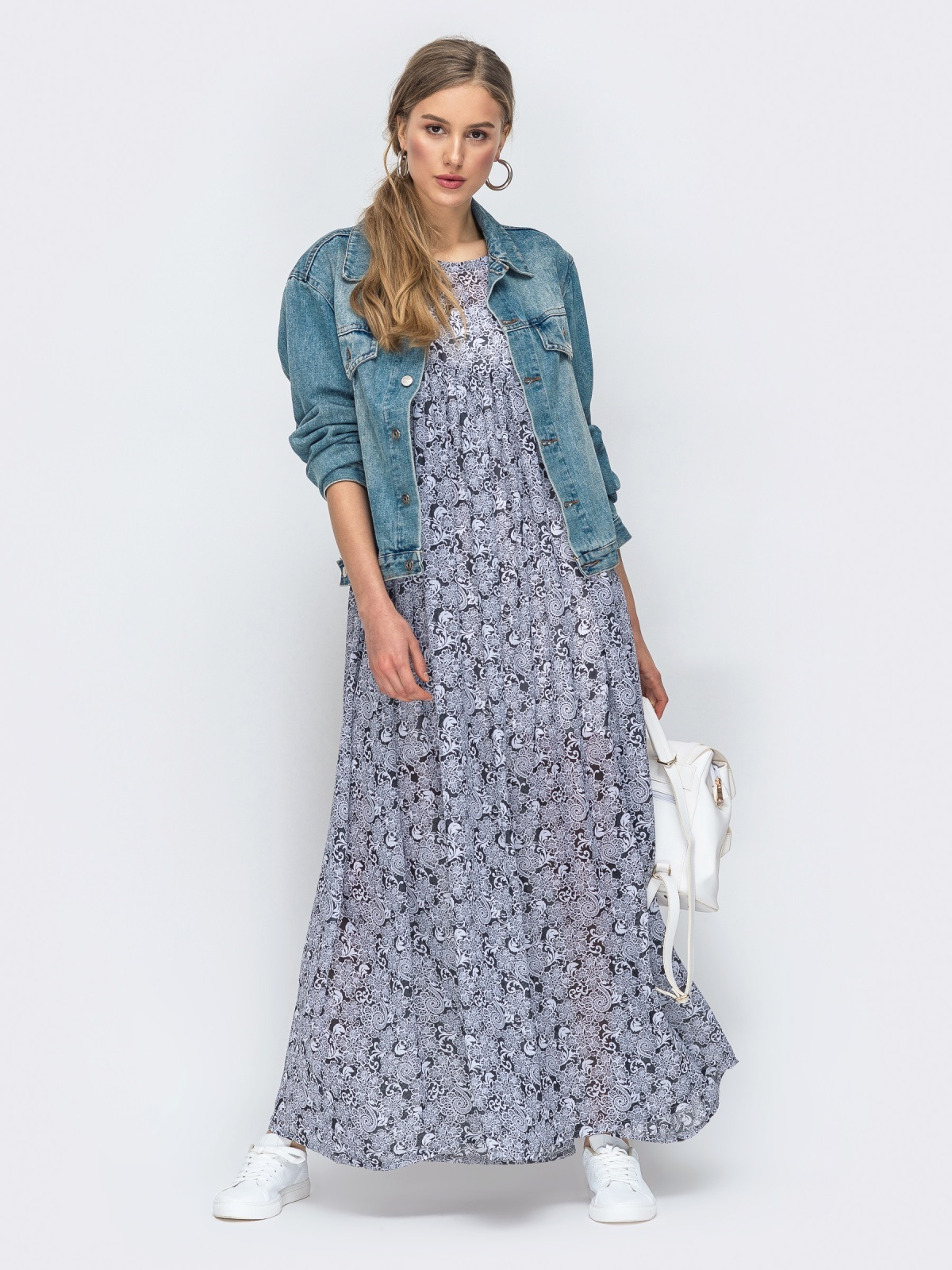 Платье-макси из шифона с принтом и комбинацией серое 45734, фото 1