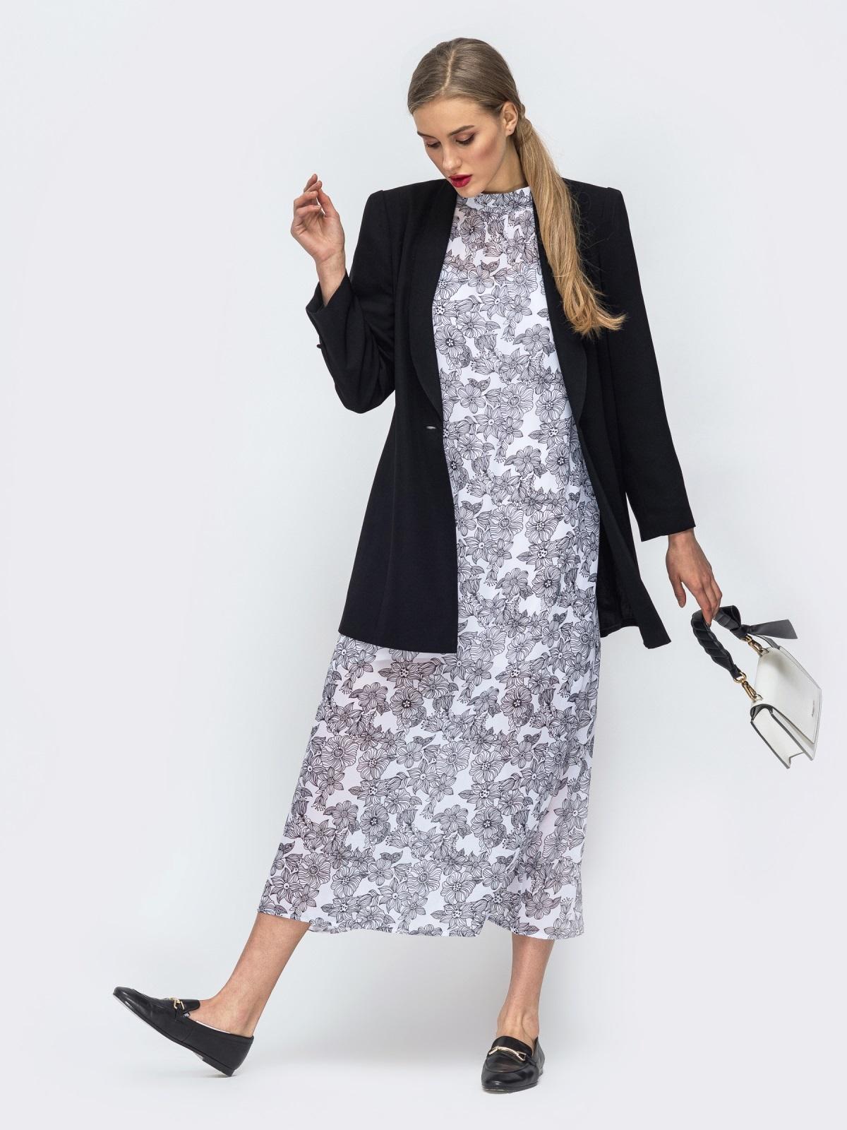 Серое платье из шифона с цветочным принтом 45732, фото 1