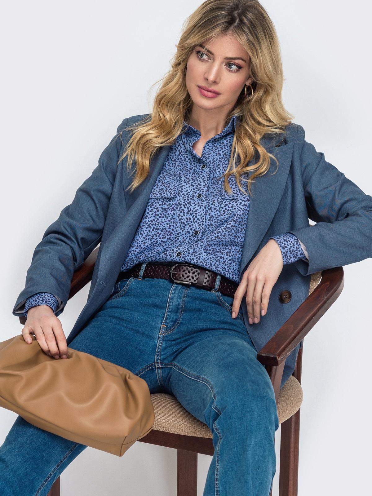 Синяя рубашка прямого кроя с принтом 45747, фото 1