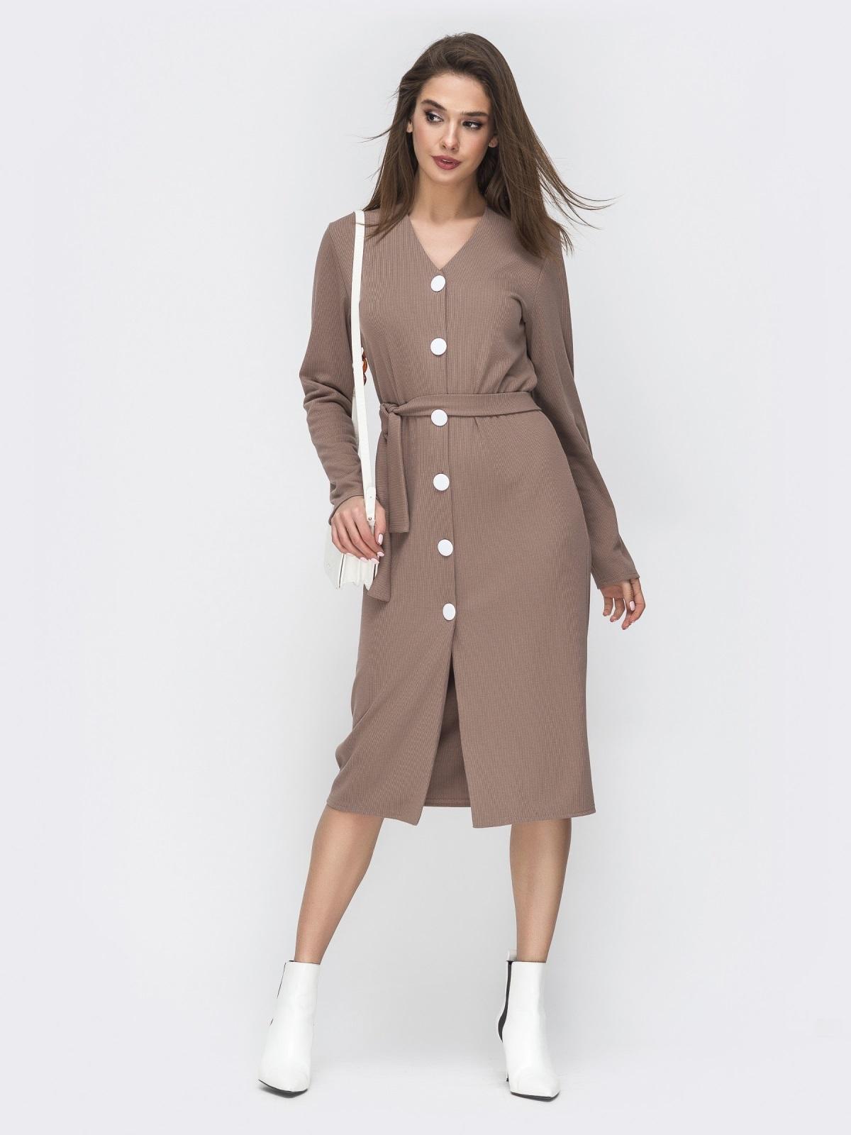Бежевое платье-рубашка с V-вырезом 45007, фото 1