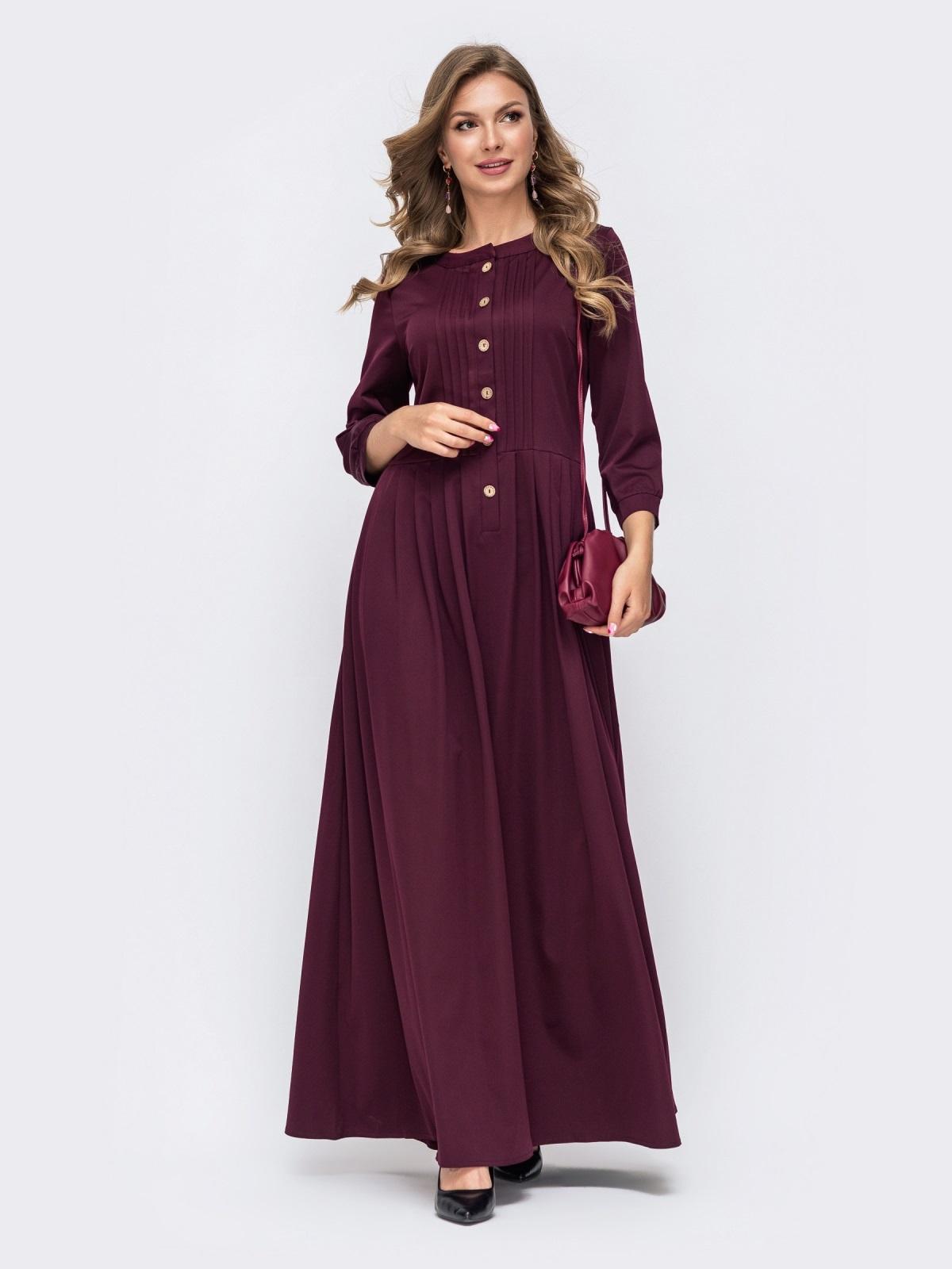Платье-макси фиолетового цвета с пуговицами по полочке  50332, фото 1