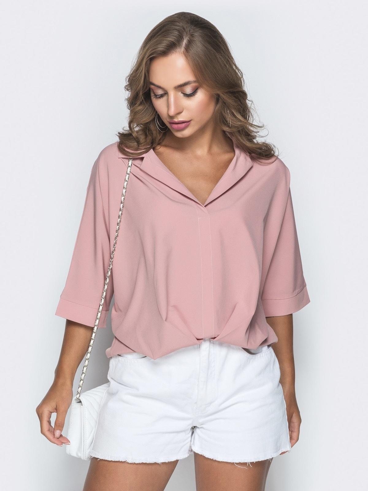 Свободная блузка с удлиненной спинкой пудровая 38481, фото 1