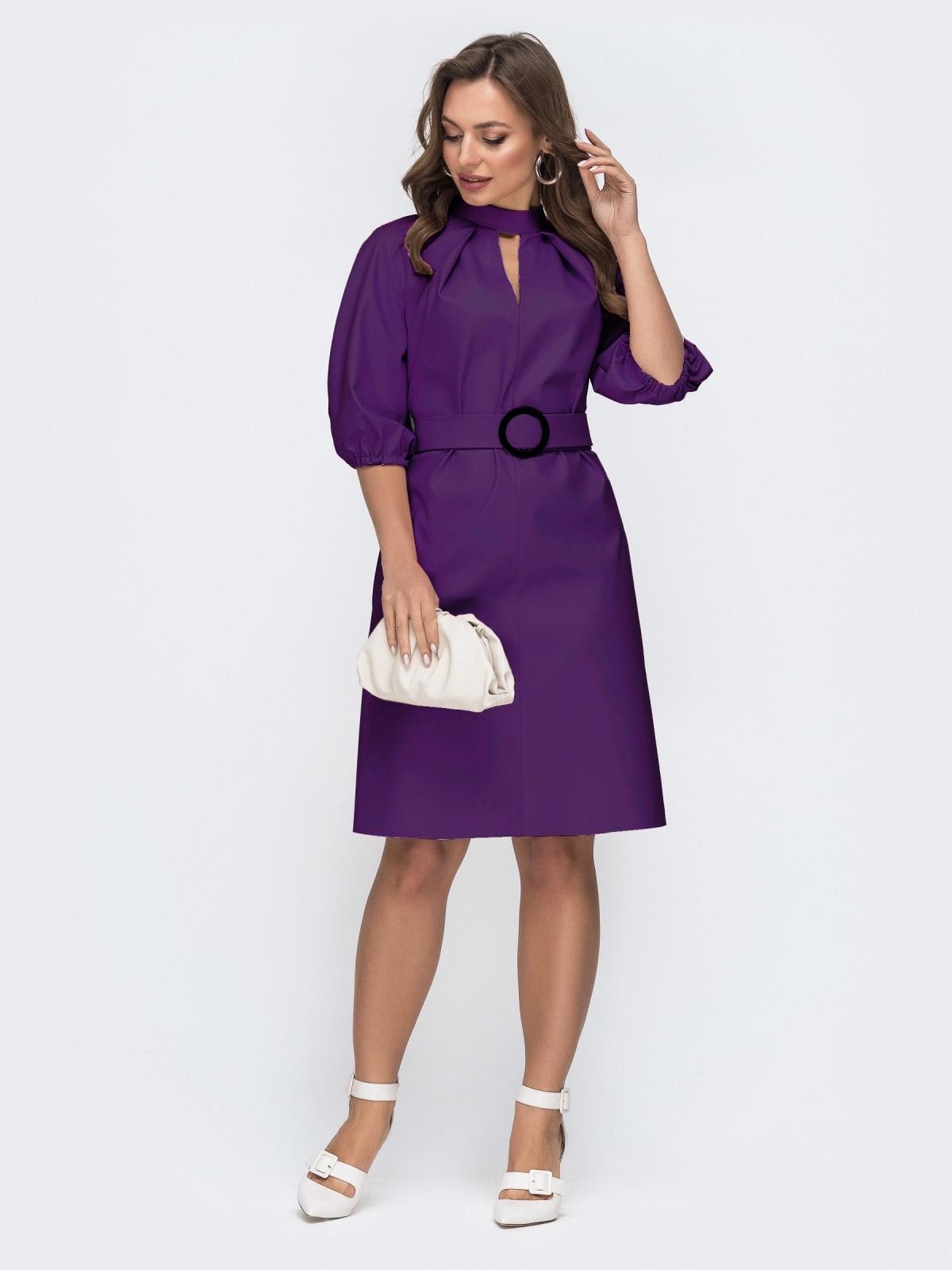 Фиолетовое платье из искусственной кожи с фигурным вырезом 45962, фото 1