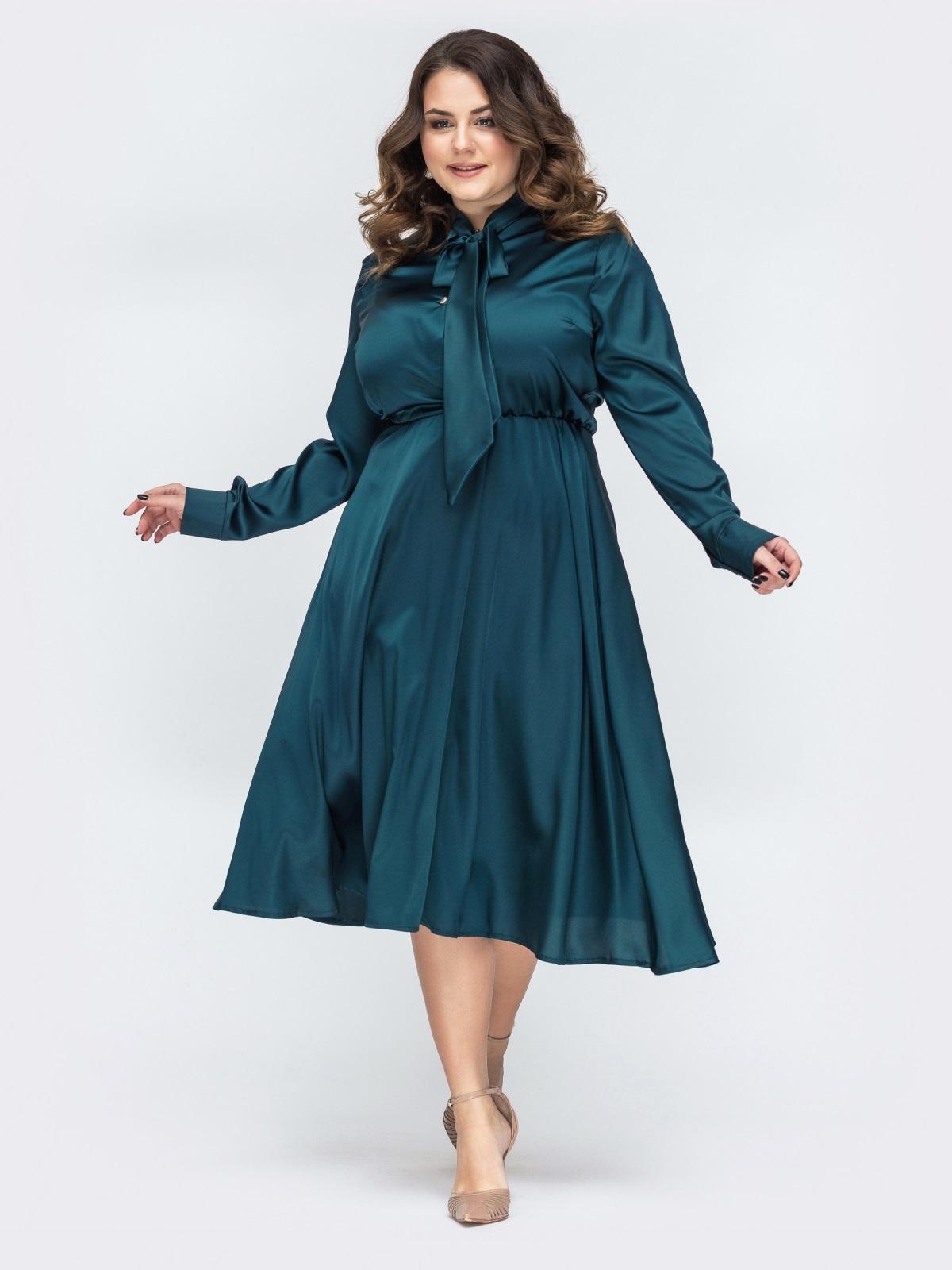 Шелковое платье батал с воротником-аскот зеленое 45396, фото 1