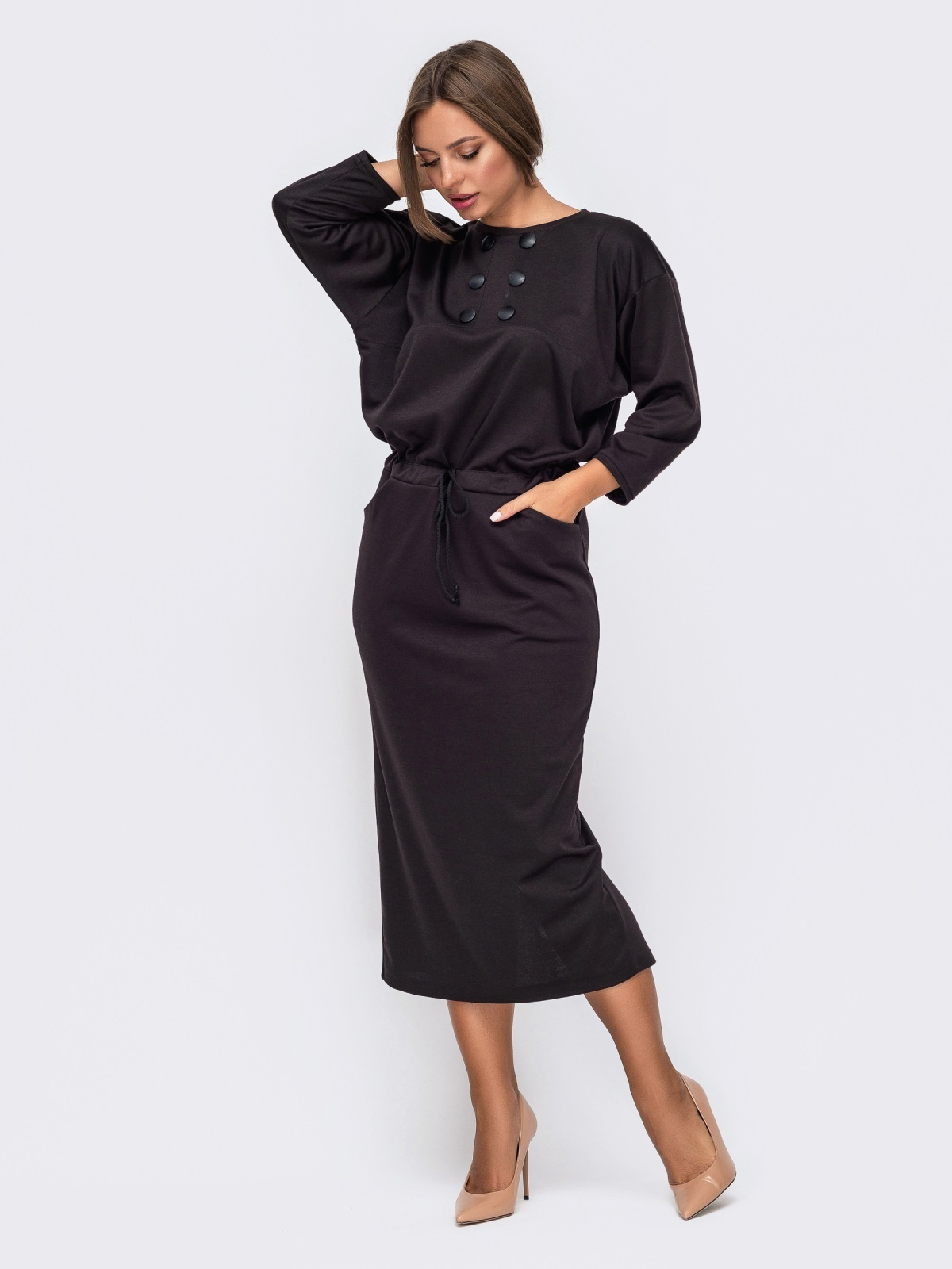 Коричневое платье-макси с кулиской по талии 51061, фото 1
