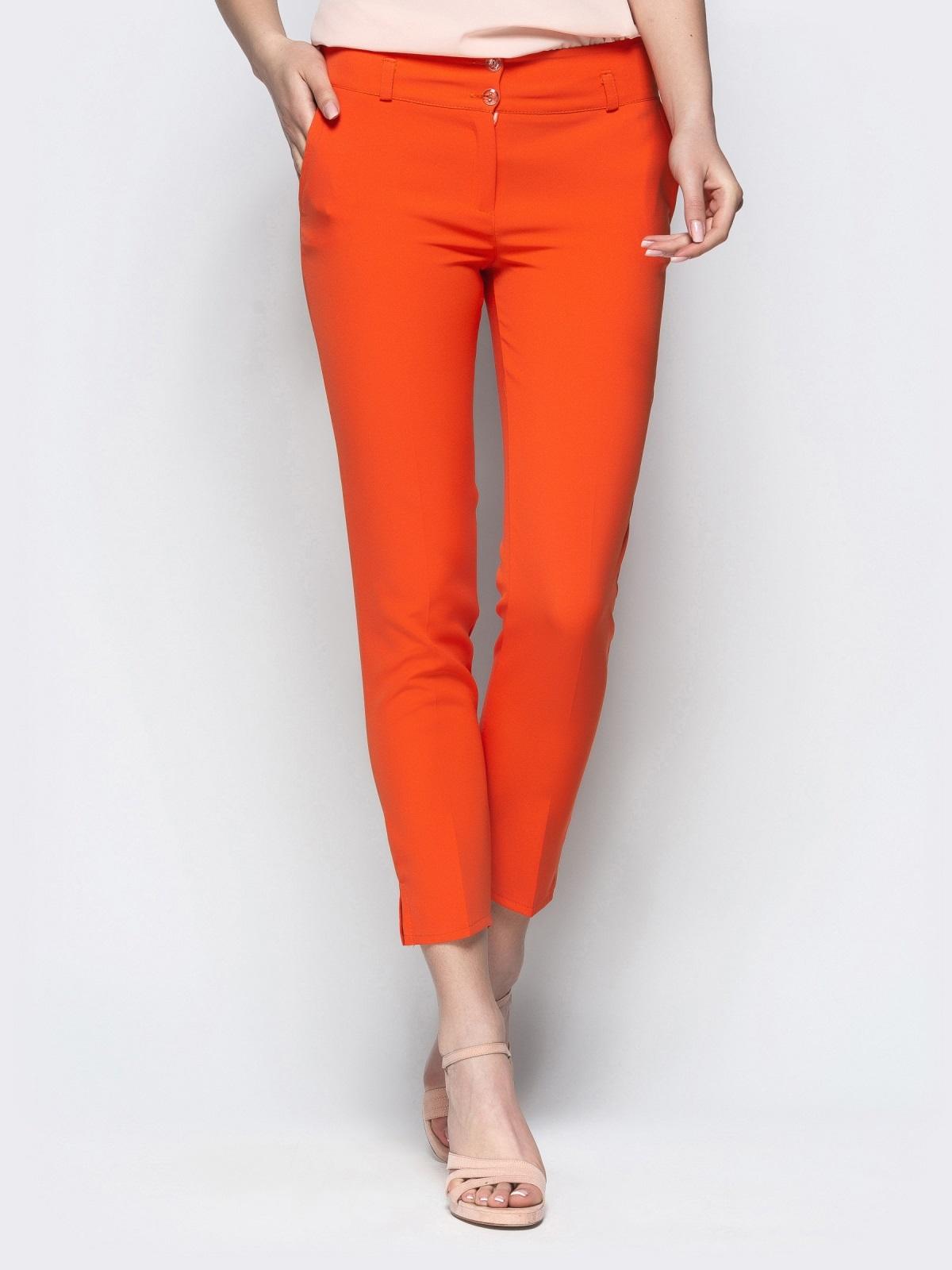 Укороченные брюки-дудочки оранжевого цвета с карманами 21869, фото 1