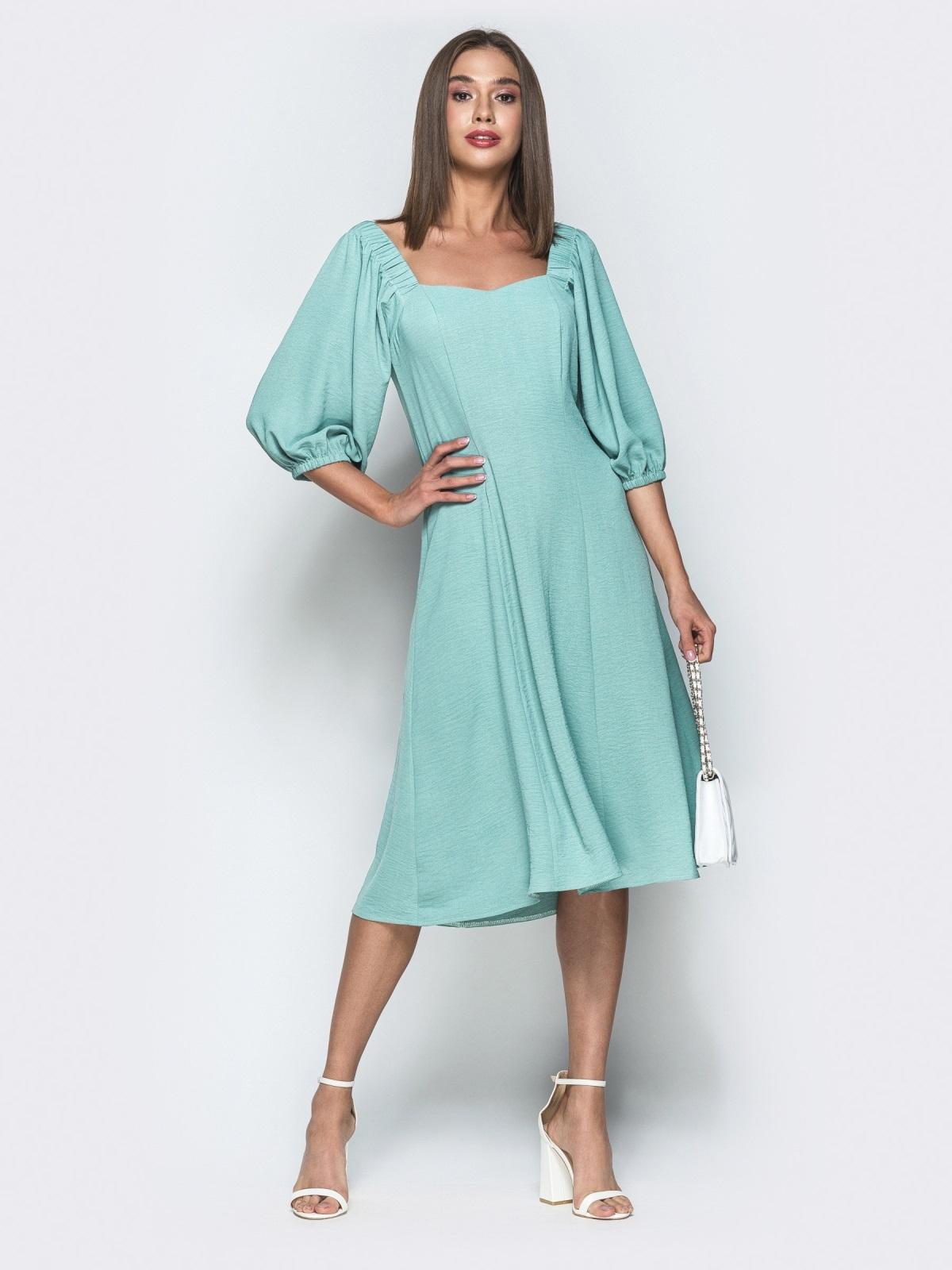 """Приталенное платье с фигурным вырезом """"каре"""" мятное 39525, фото 1"""