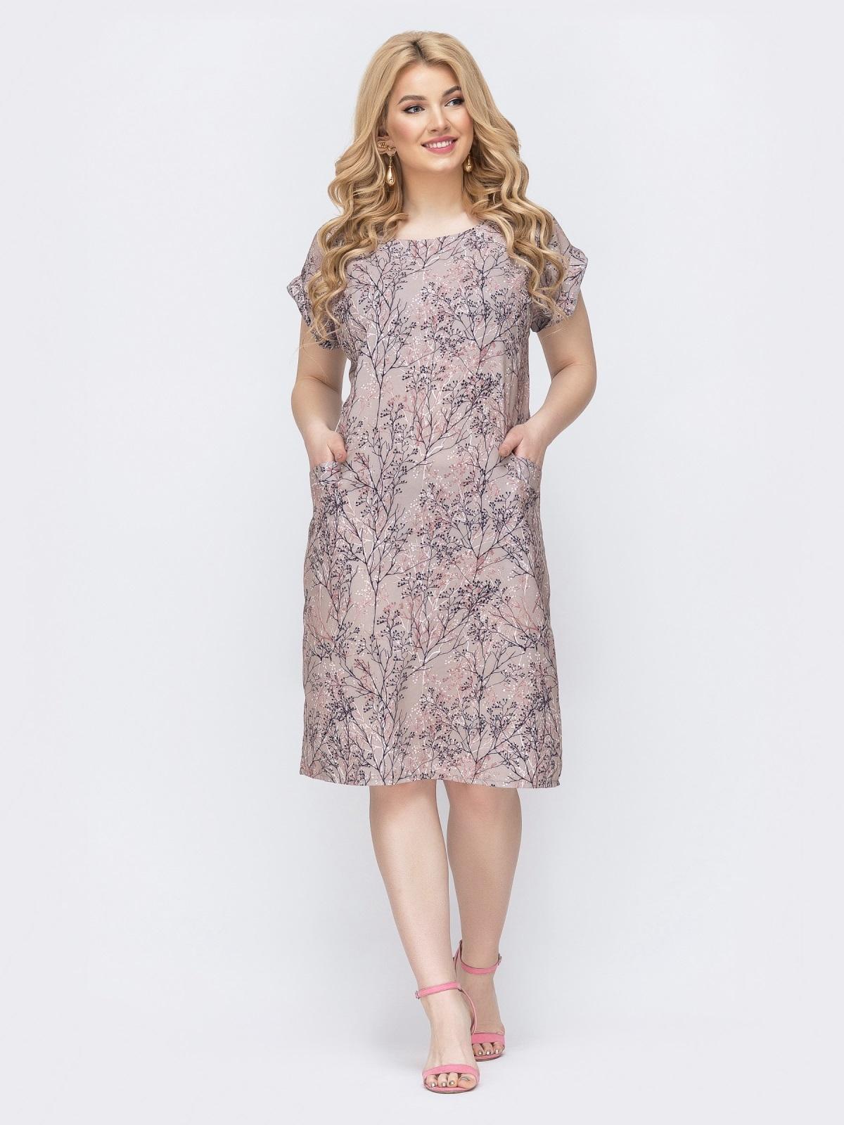 Бежевое платье батал приталенного кроя с принтом 46371, фото 1