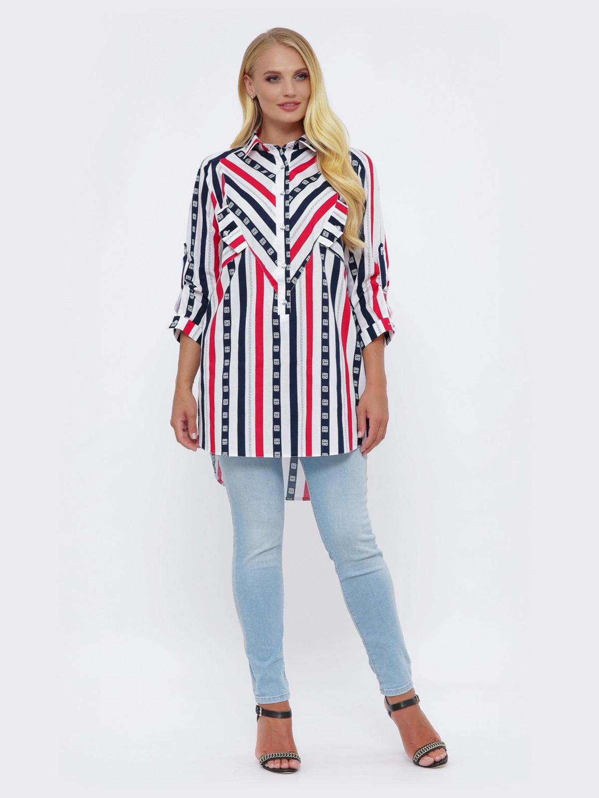 Блузка большого размера в полоску с удлиненной спинкой белая 51031, фото 1