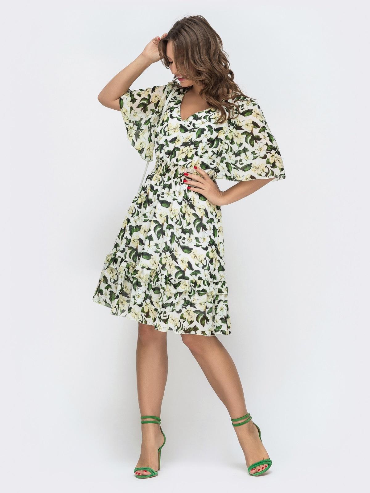Приталенное платье из шифона с принтом молочное 46873, фото 1