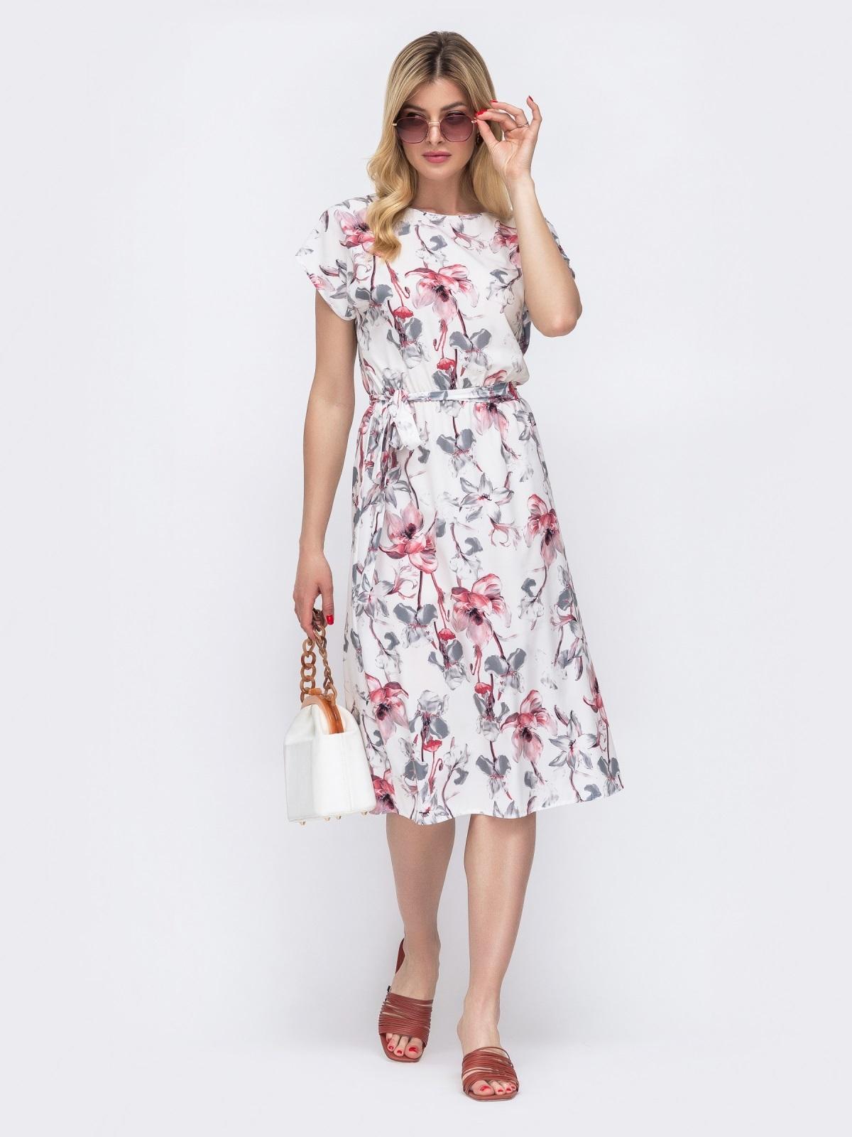 Белое платье с принтом и резинкой в поясе 48483, фото 1
