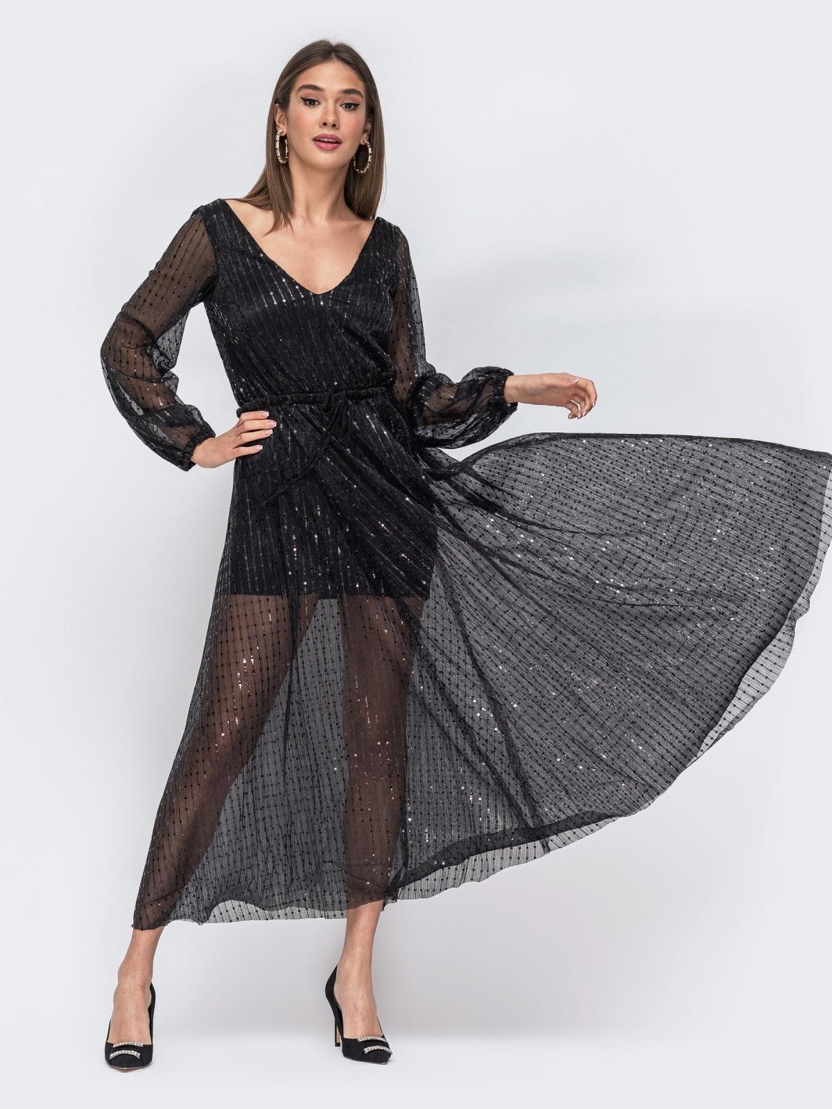 Чёрное платье с пайетками и вырезом по спинке 43694, фото 1