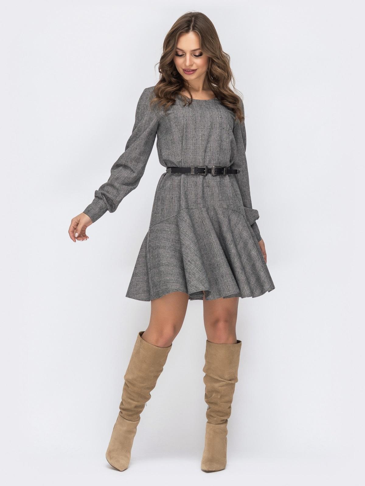 Серое платье с воланом по низу 44152, фото 1