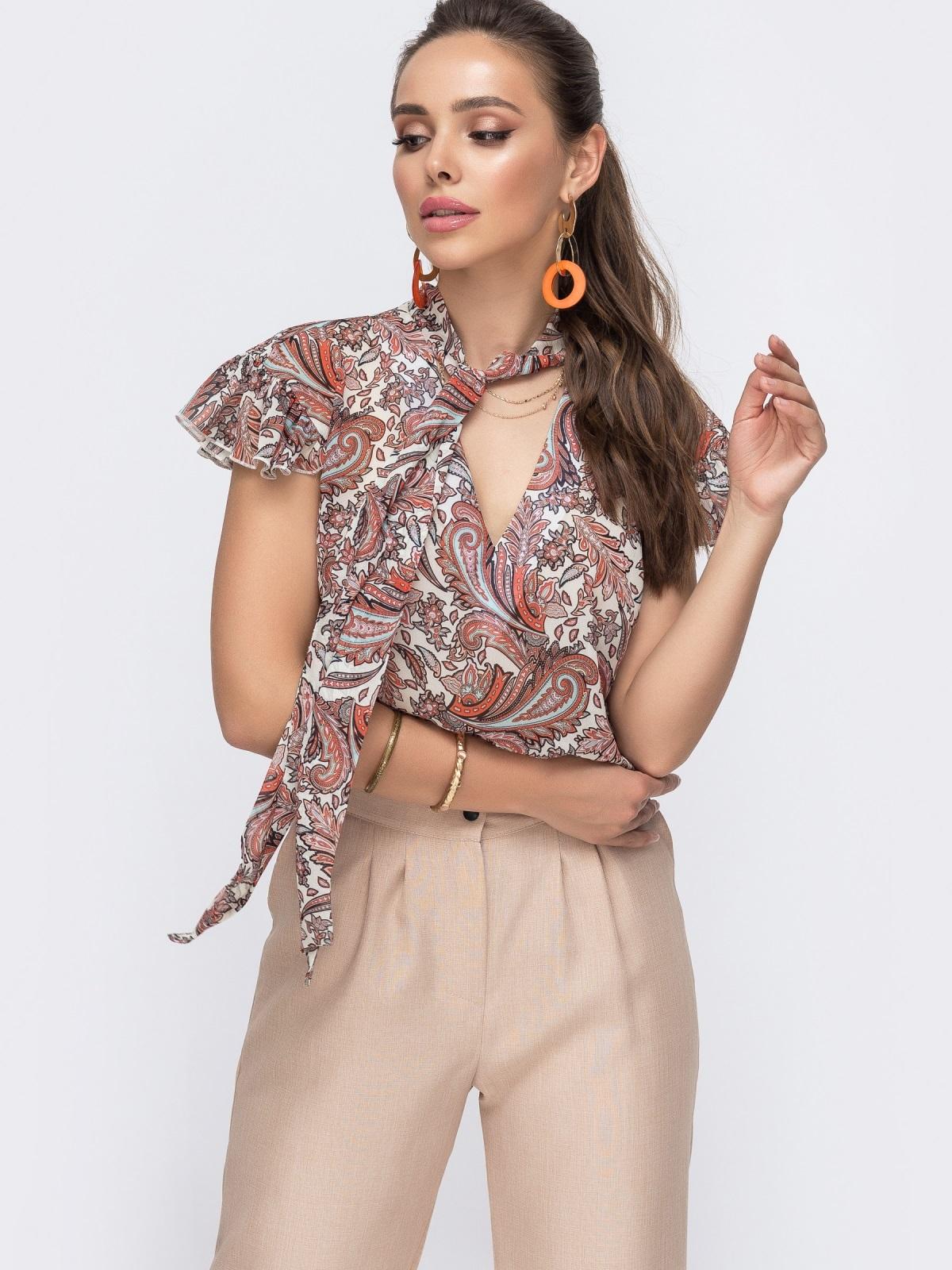 """Шифоновая блузка с принтом и рукавом """"крылышко"""" оранжевая 49111, фото 1"""