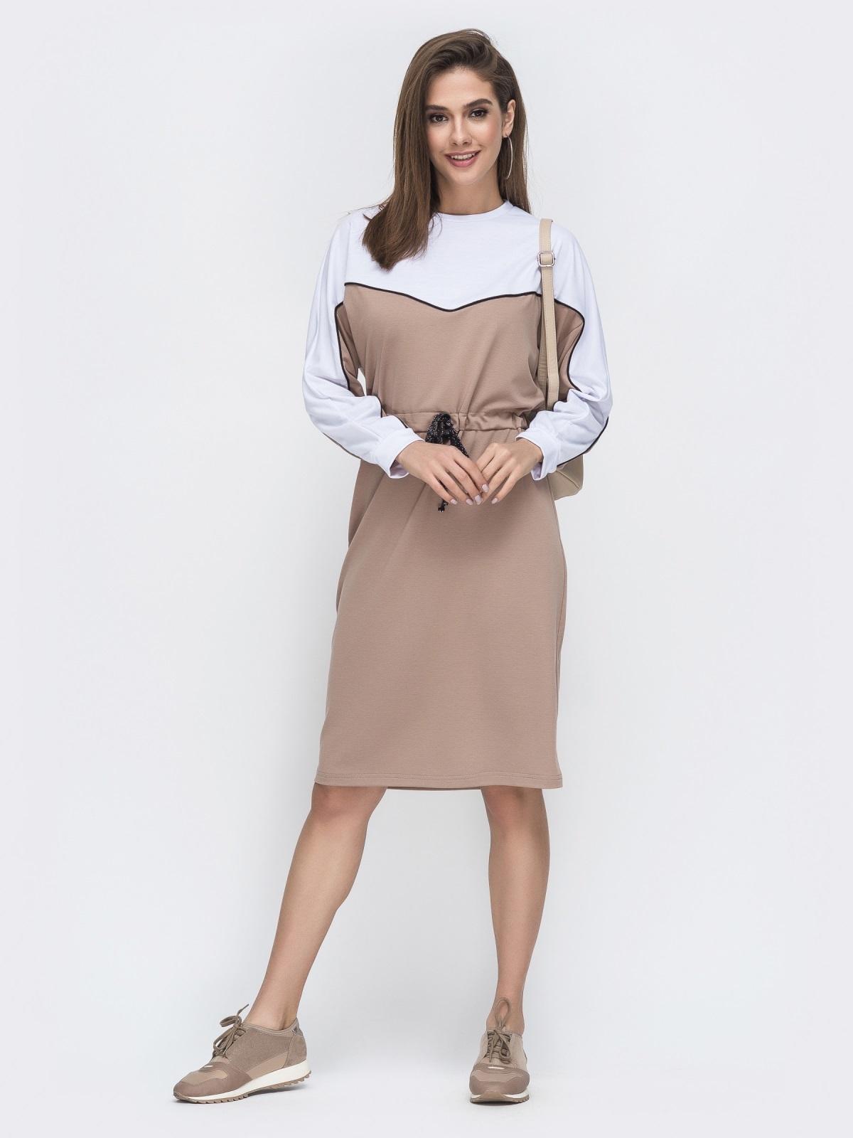 """Спортивное платье с рукавом """"летучая мышь"""" бежевое 45032, фото 1"""