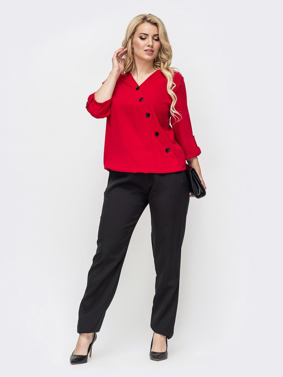 Комплект большого размера со свободной блузкой и брюками красный 50784, фото 1