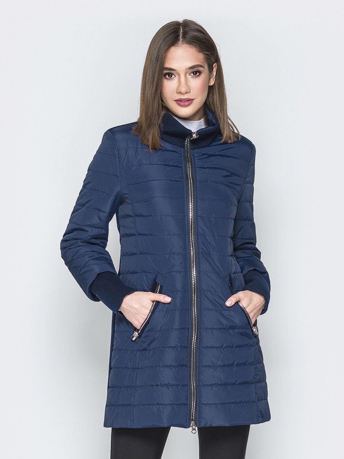 Синяя куртка с манжетами из кашемира и воротником 20231, фото 1