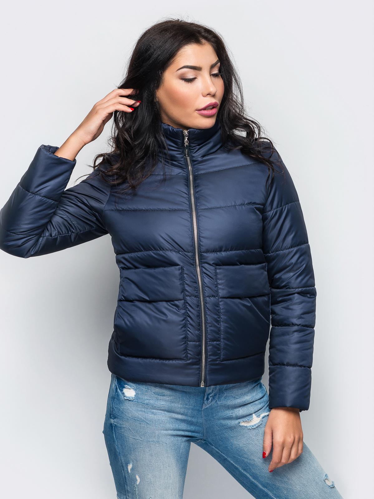 Тёмно-синяя демисезонная куртка с накладными карманами 15178, фото 1