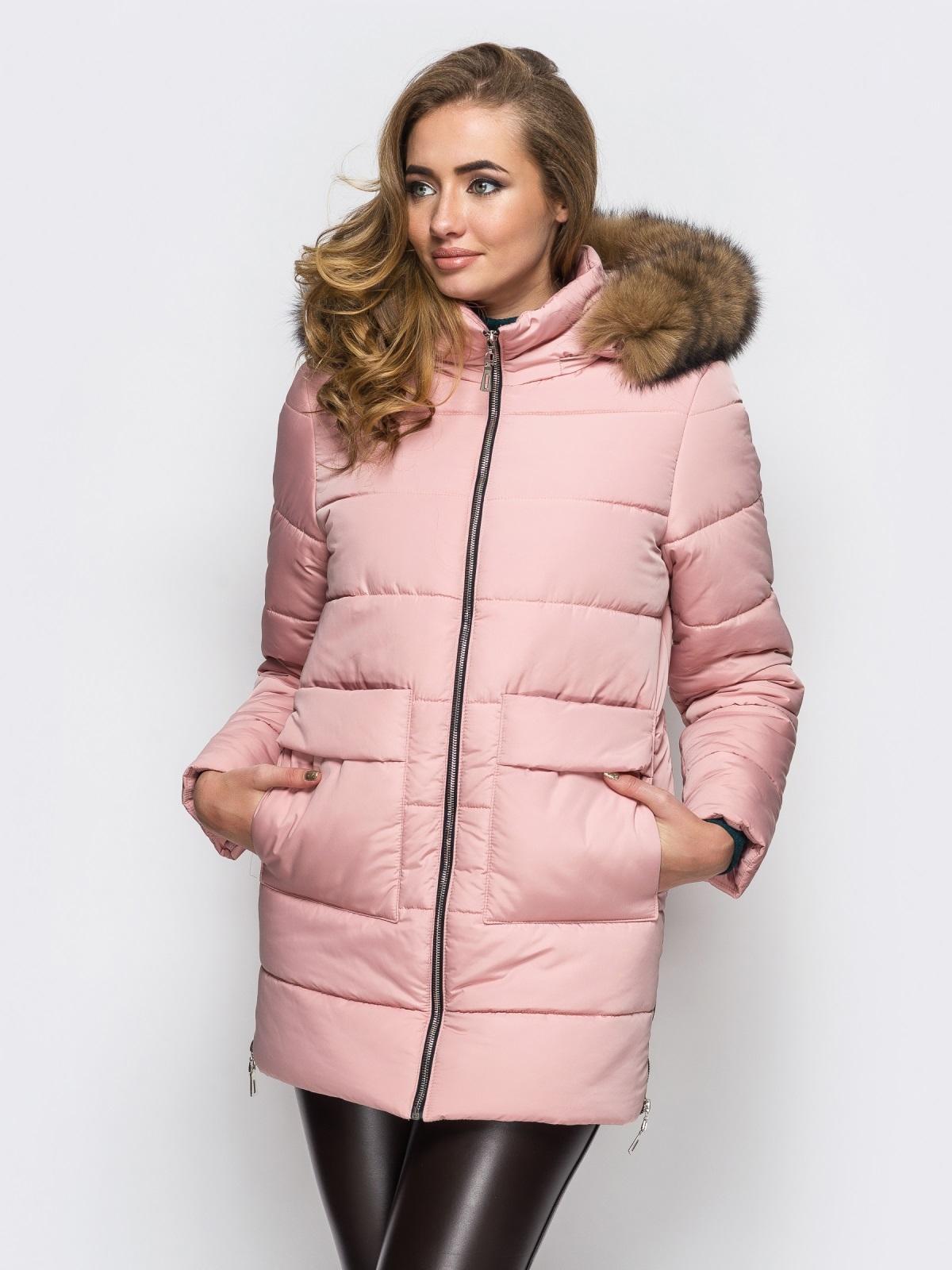 Зимняя куртка розового цвета с функциональными молниями по бокам 15248, фото 1