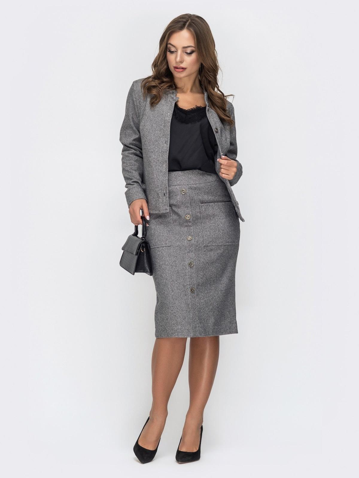 Серый комплект из жакета и юбки-карандаш 44989, фото 1
