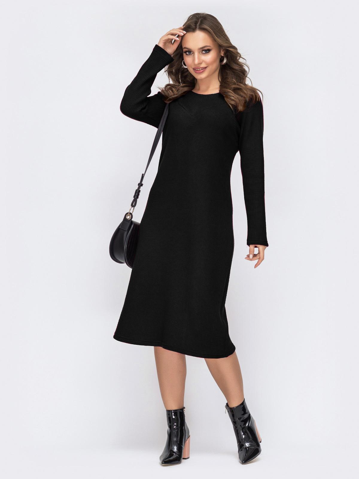 Чёрное платье батал приталенного кроя 44194, фото 1