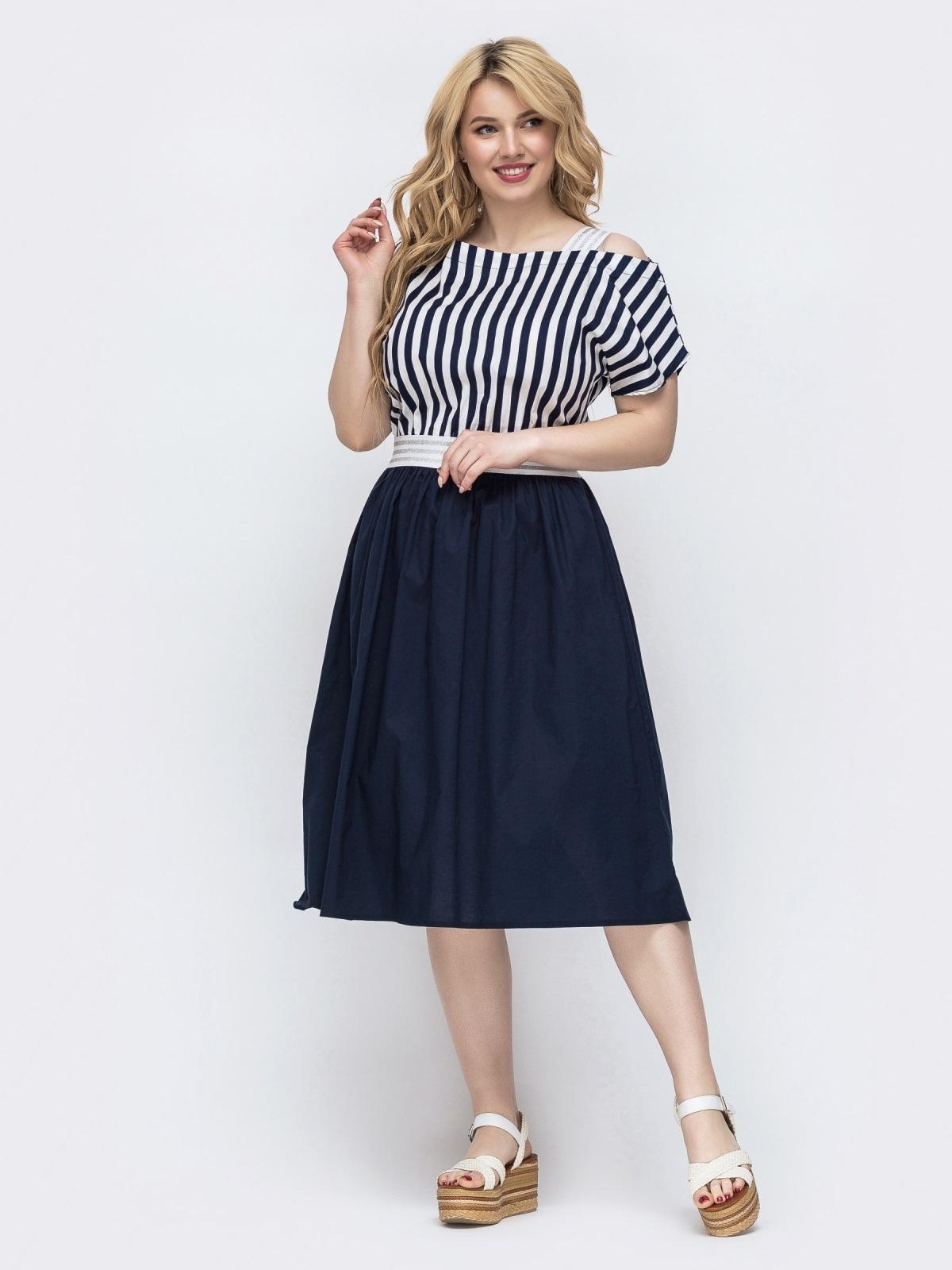 Комбинированное платье батал в полоску темно-синее 46291, фото 1