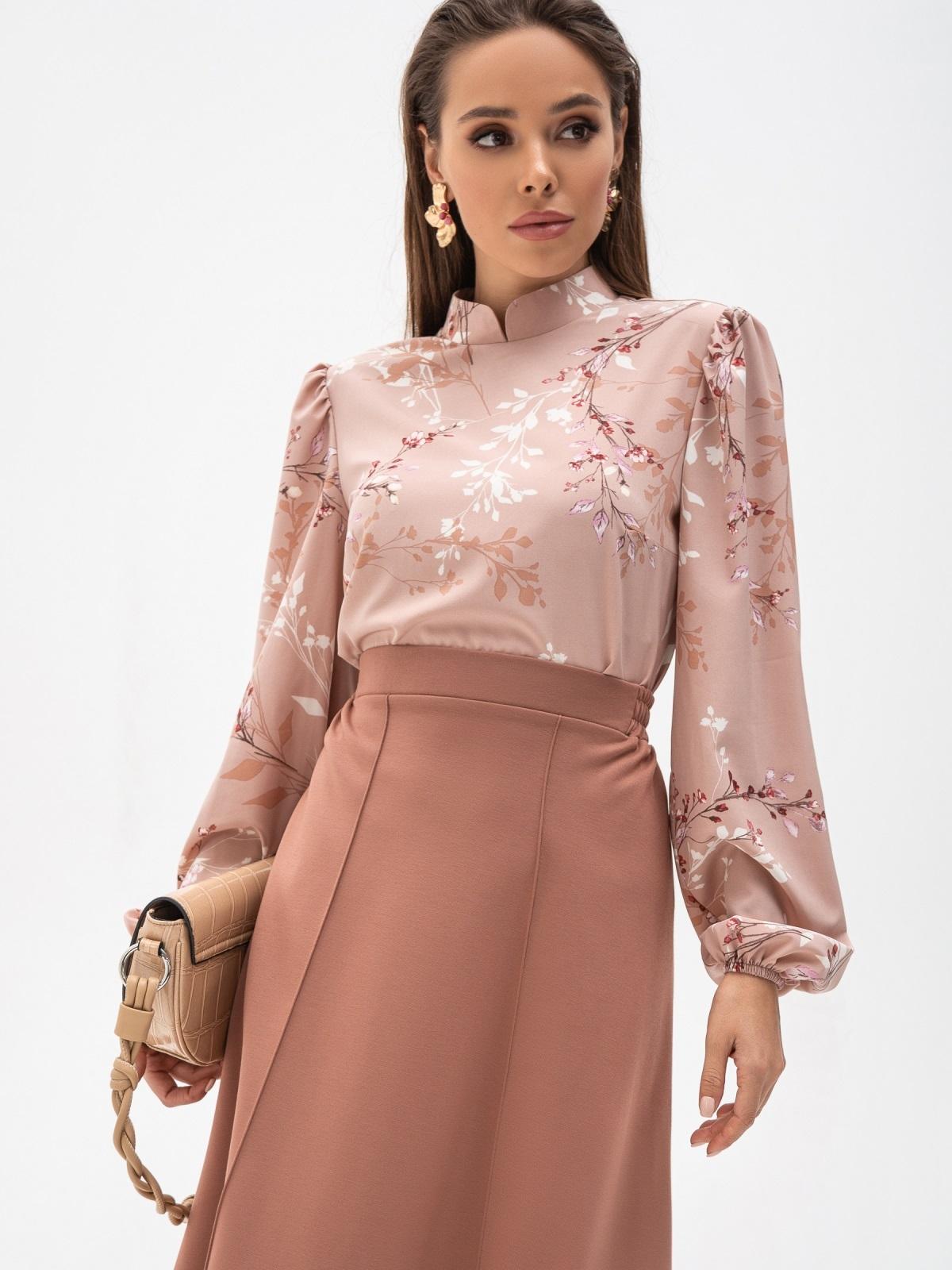 Блузка прямого кроя с принтом и воротником-стойкой пудровая 51242, фото 1