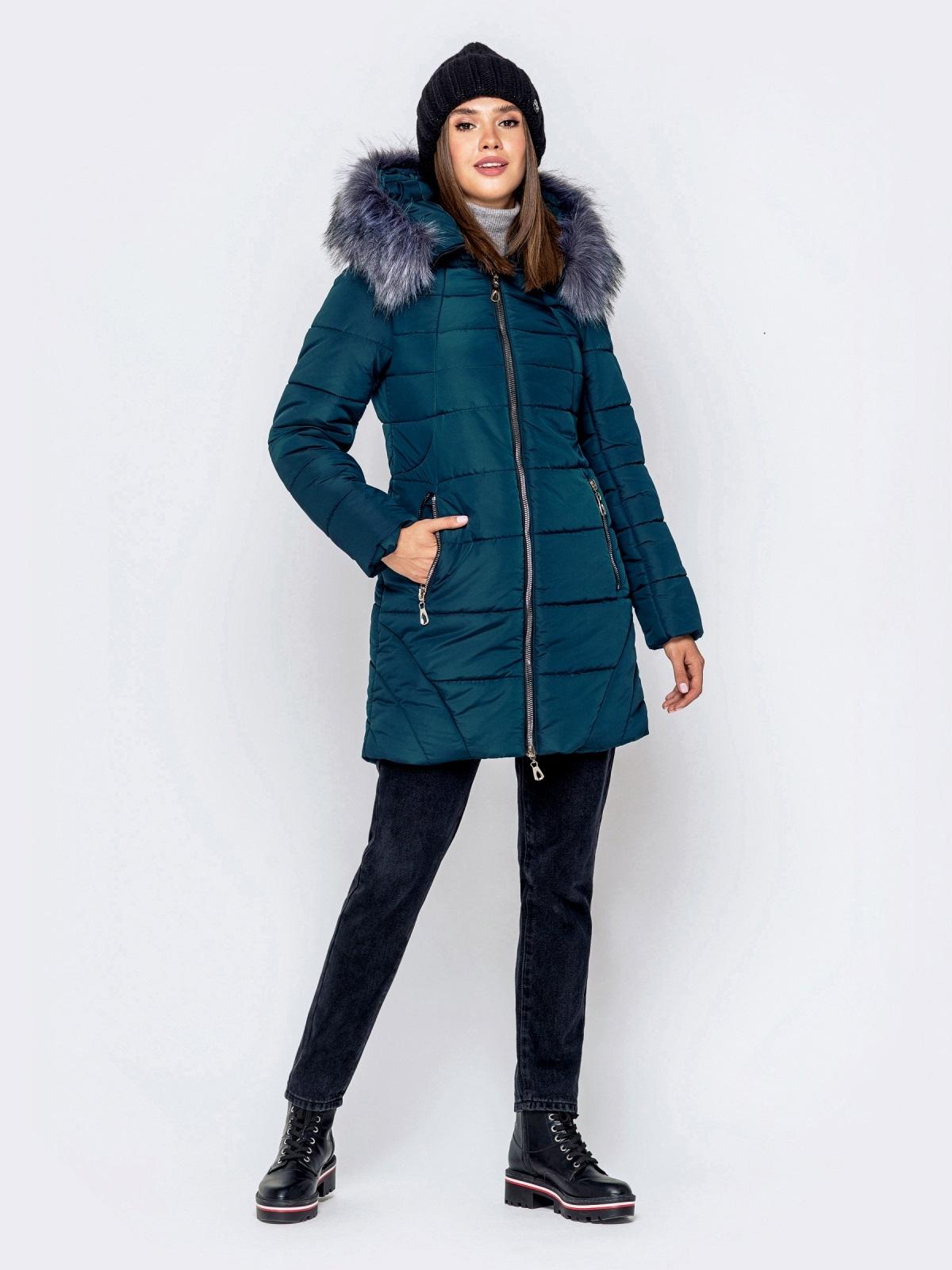 Зимняя куртка зеленого цвета с капюшоном 40907, фото 1