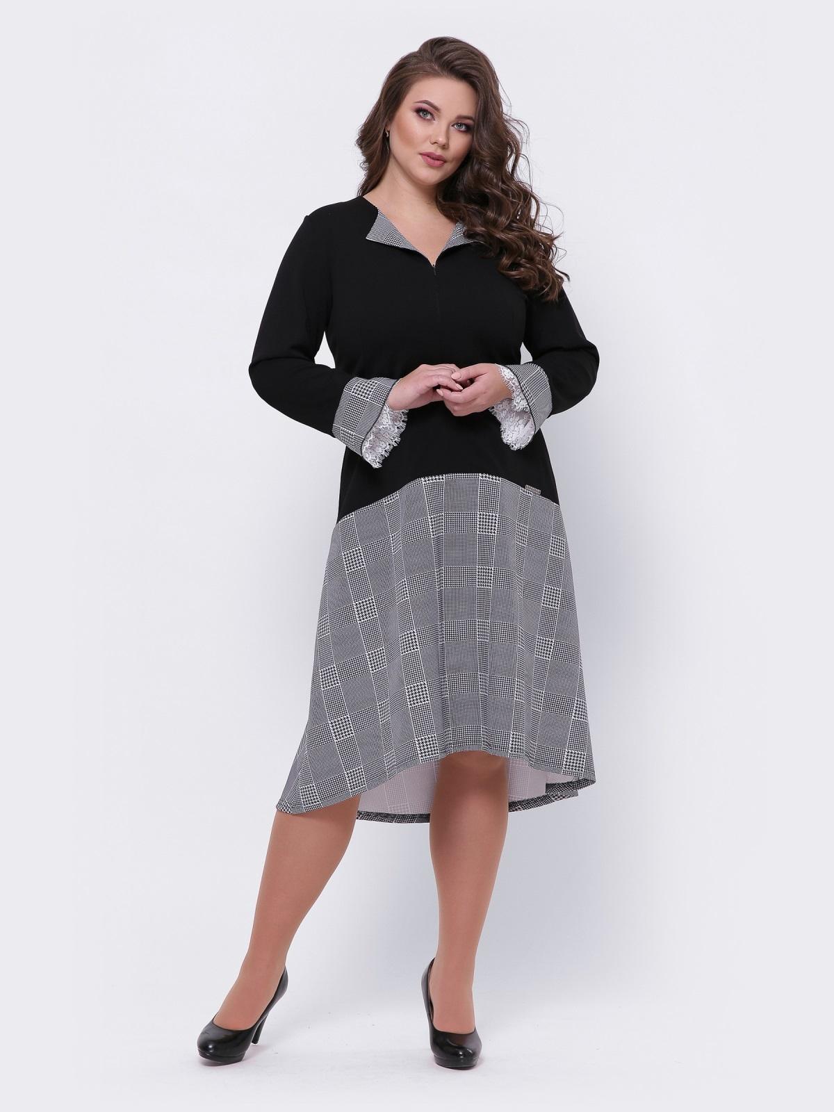 Свободное платье большого размера в клетку чёрное 44103, фото 1