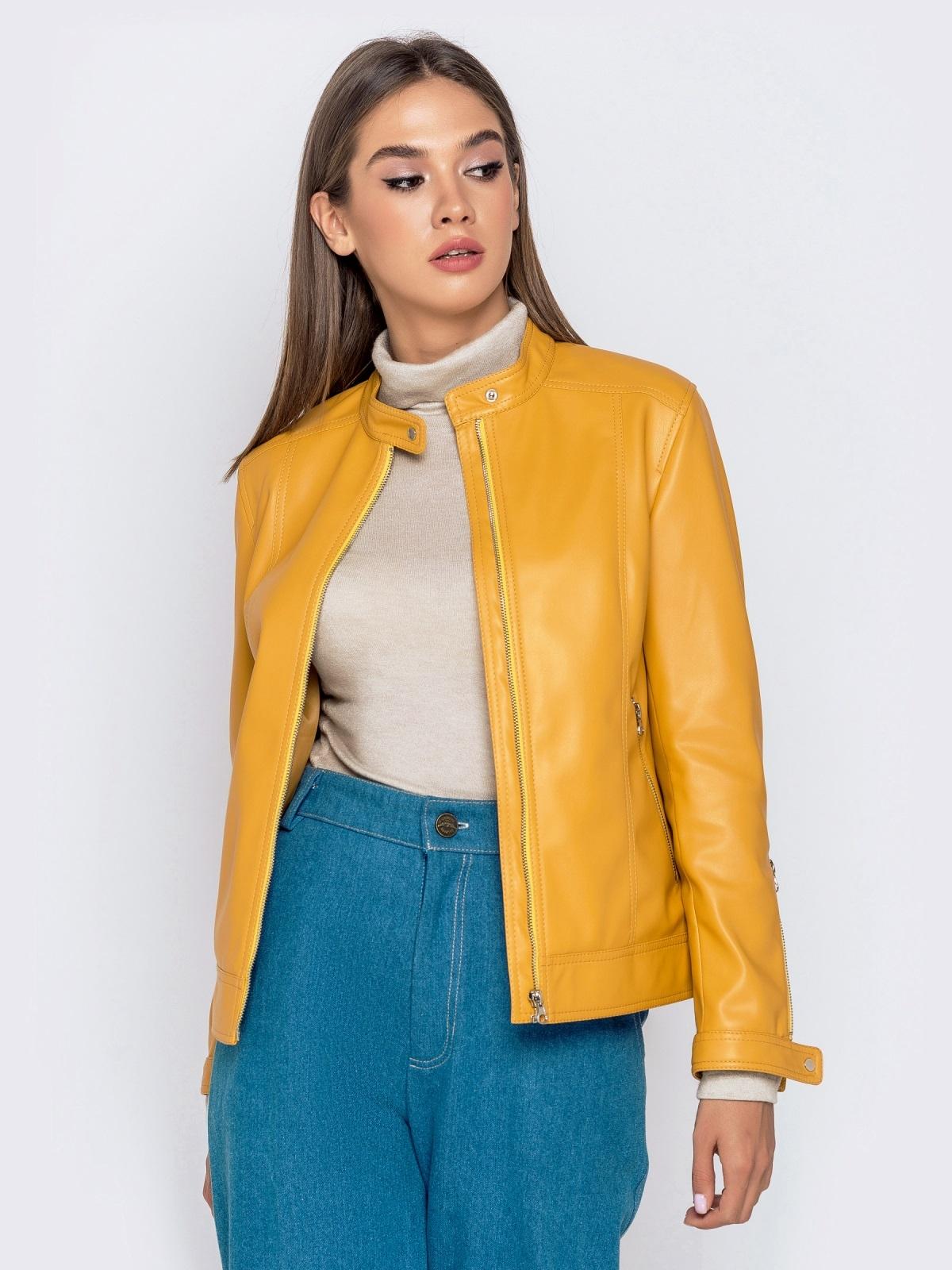 Желтая куртка прямого кроя из эко-кожи 40995, фото 1