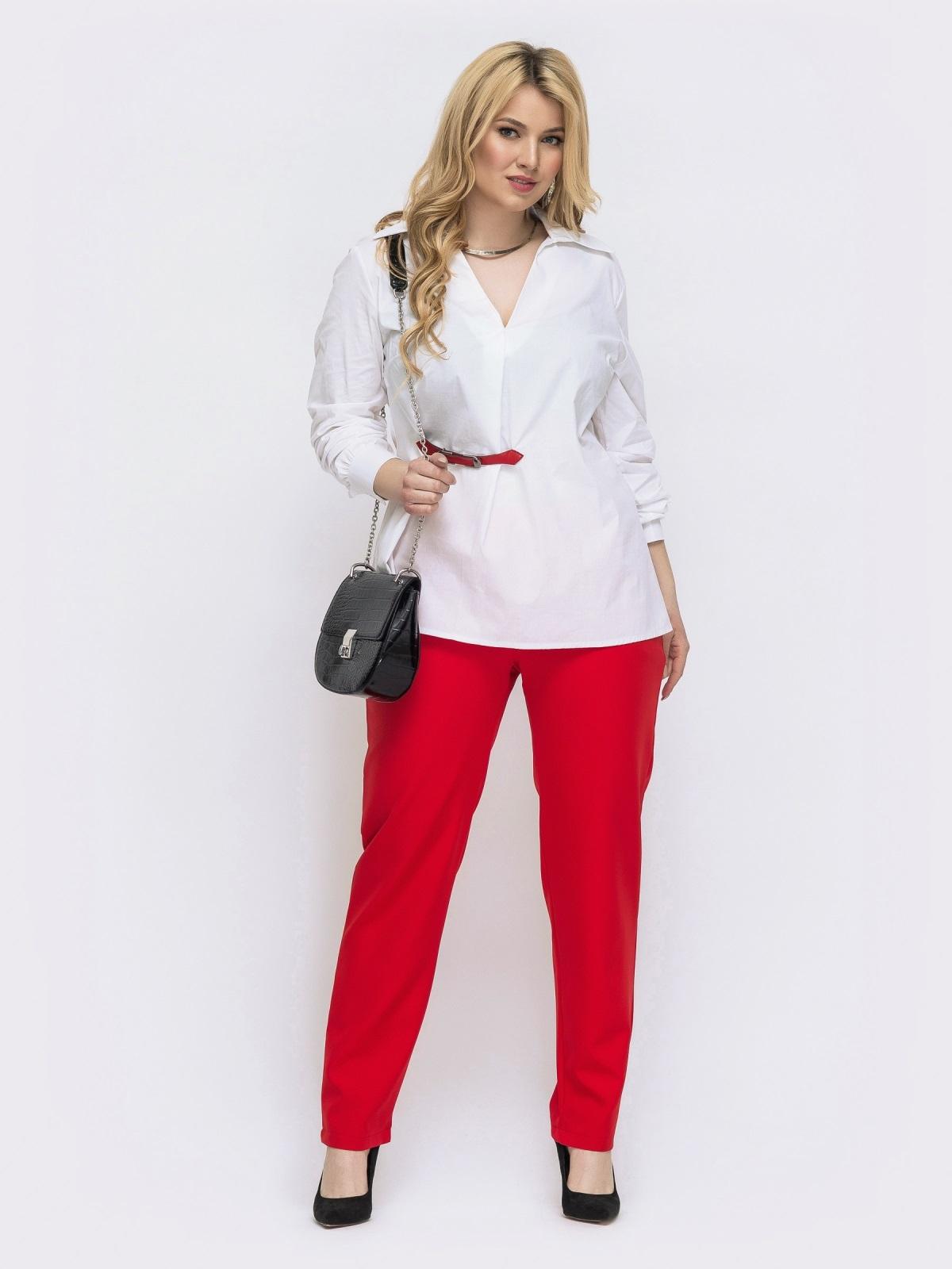Красный комплект батал с белой блузкой 46019, фото 1