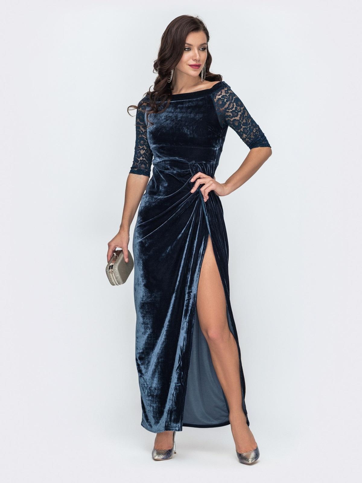 Бархатное платье-макси с открытыми плечами тёмно-синее 51981, фото 1