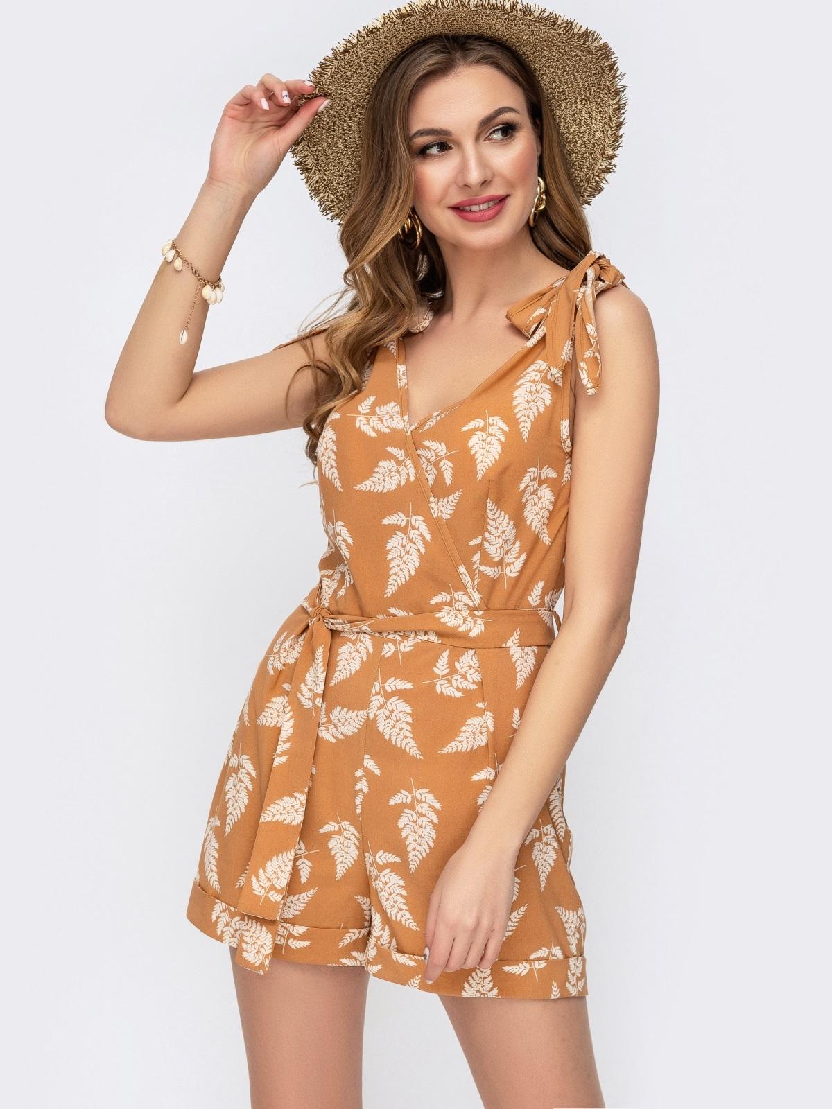 Комбинезон с шортами на завязках оранжевый 46619, фото 1