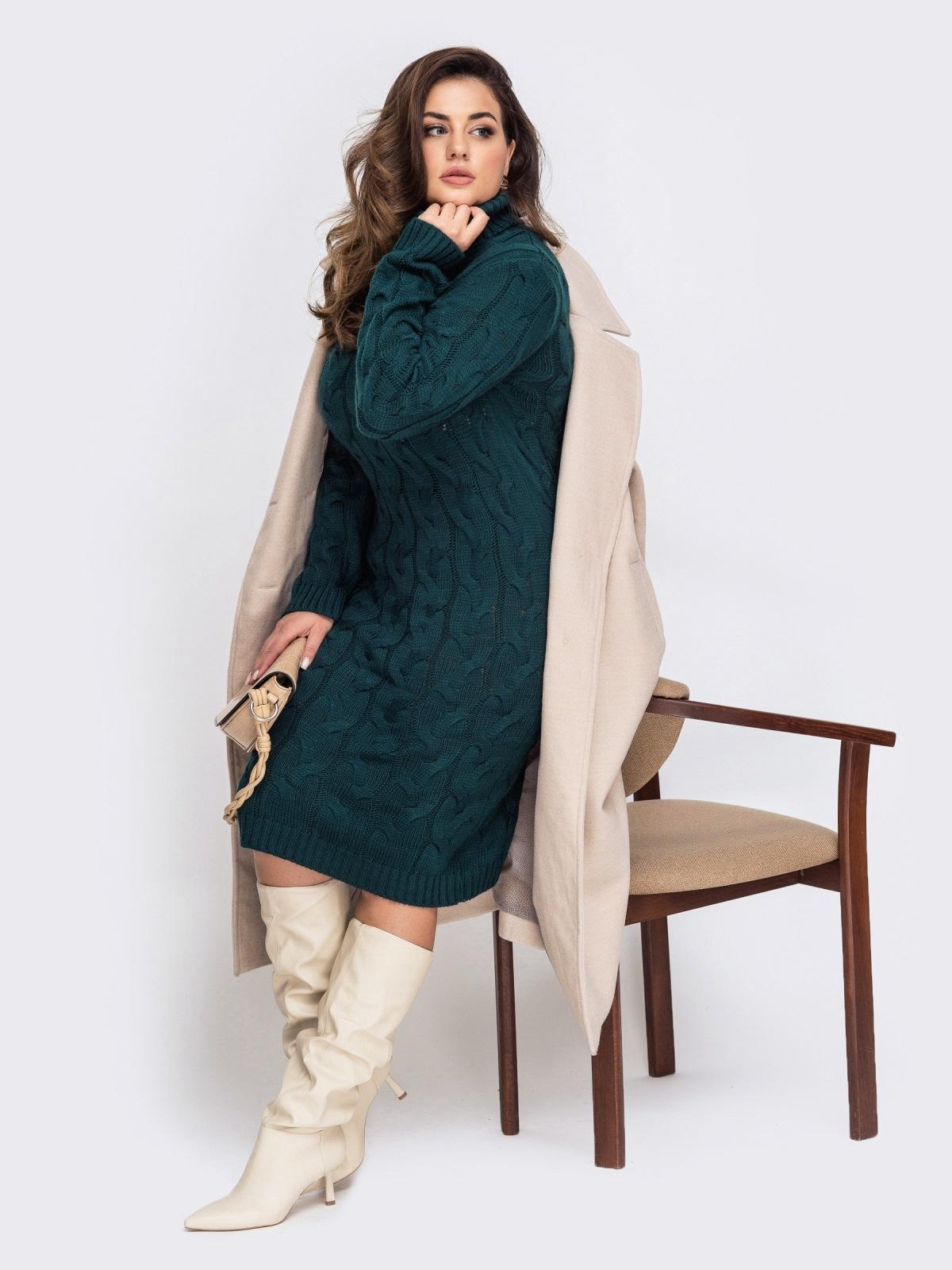 Вязаное платье большого размера с косами зеленое 51574, фото 1