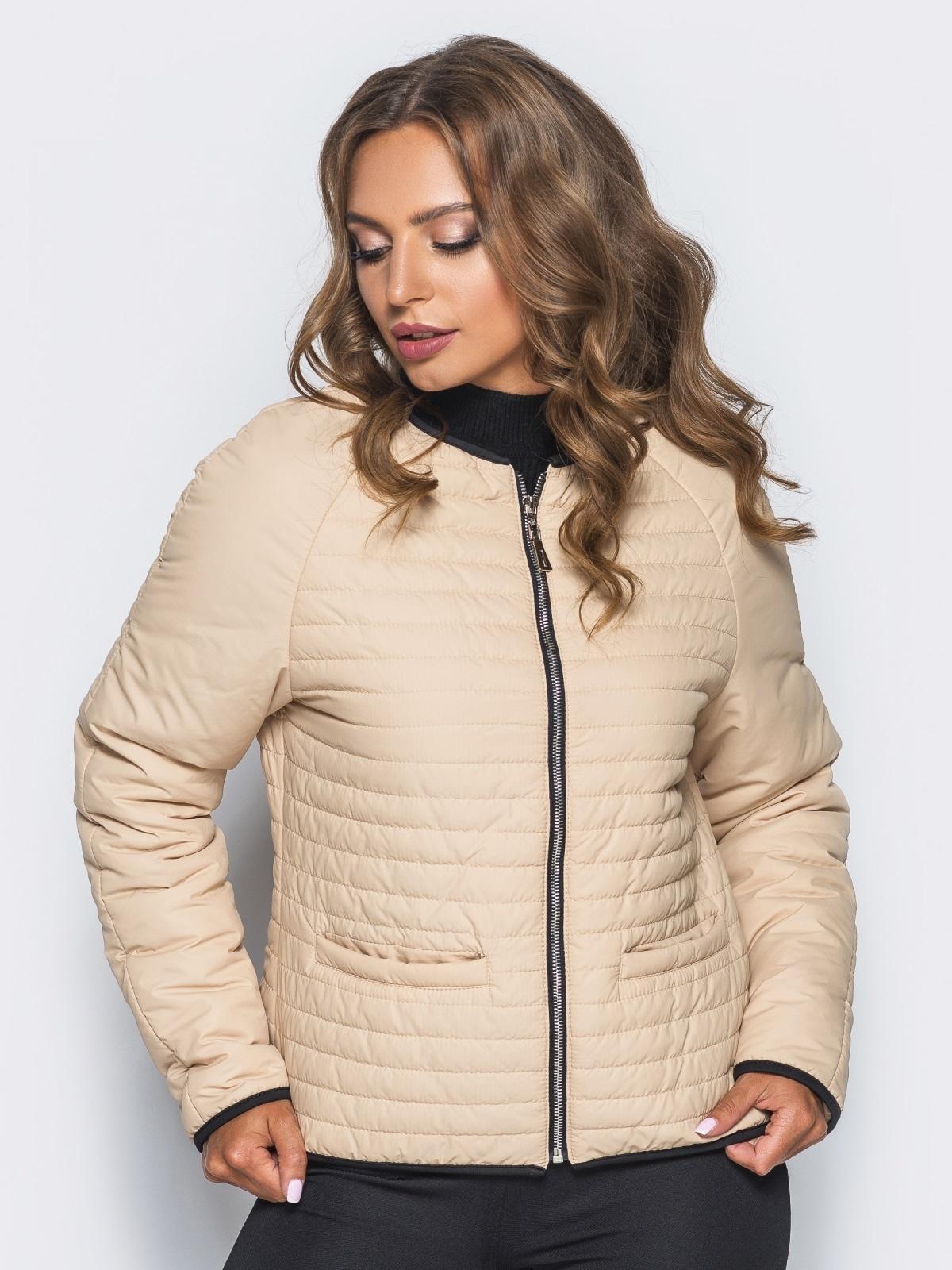 Бежевая стеганая куртка с прорезными карманами 14692, фото 1