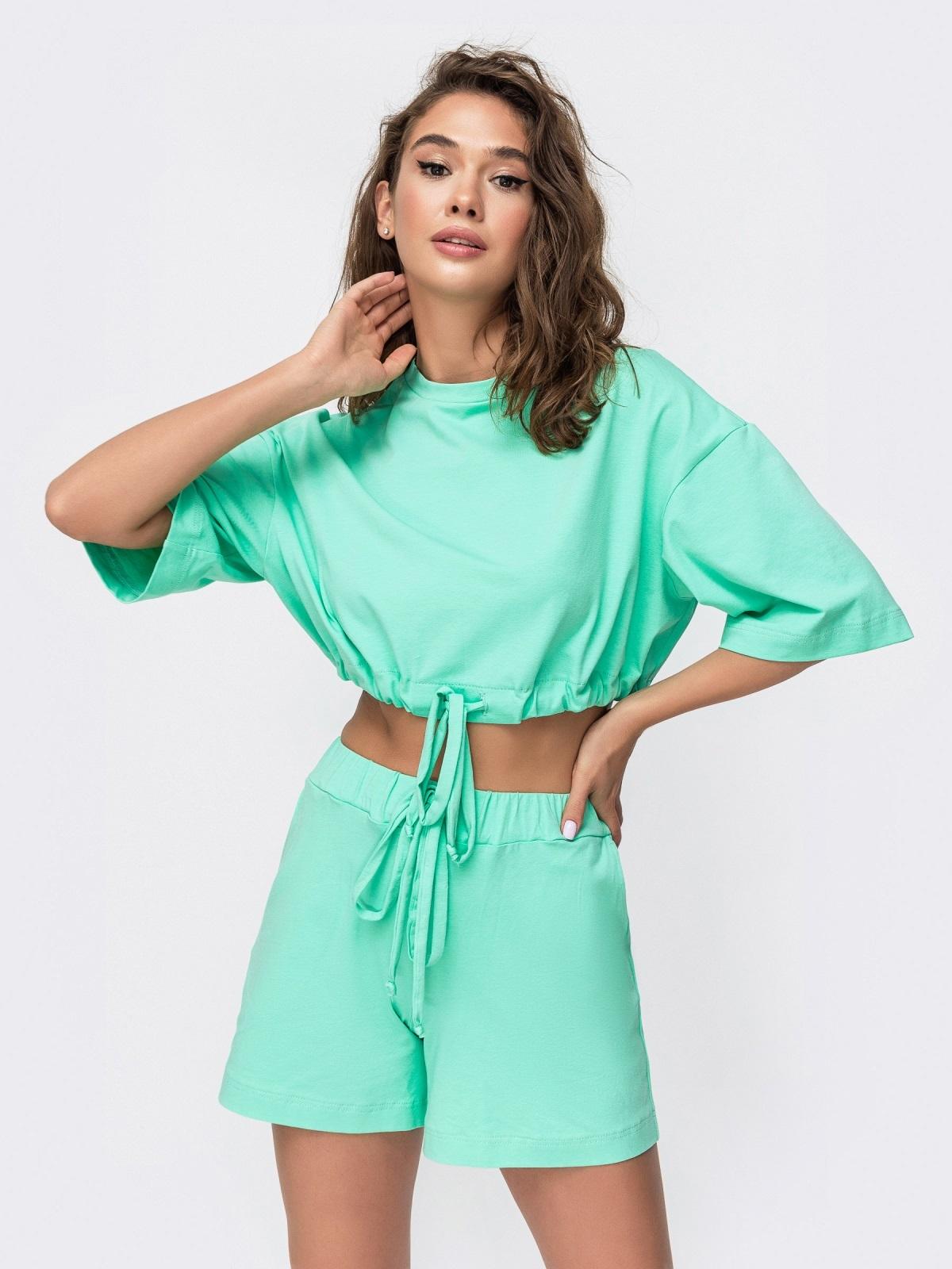 Комплект бирюзового цвета с шортами на кулиске   49347, фото 1