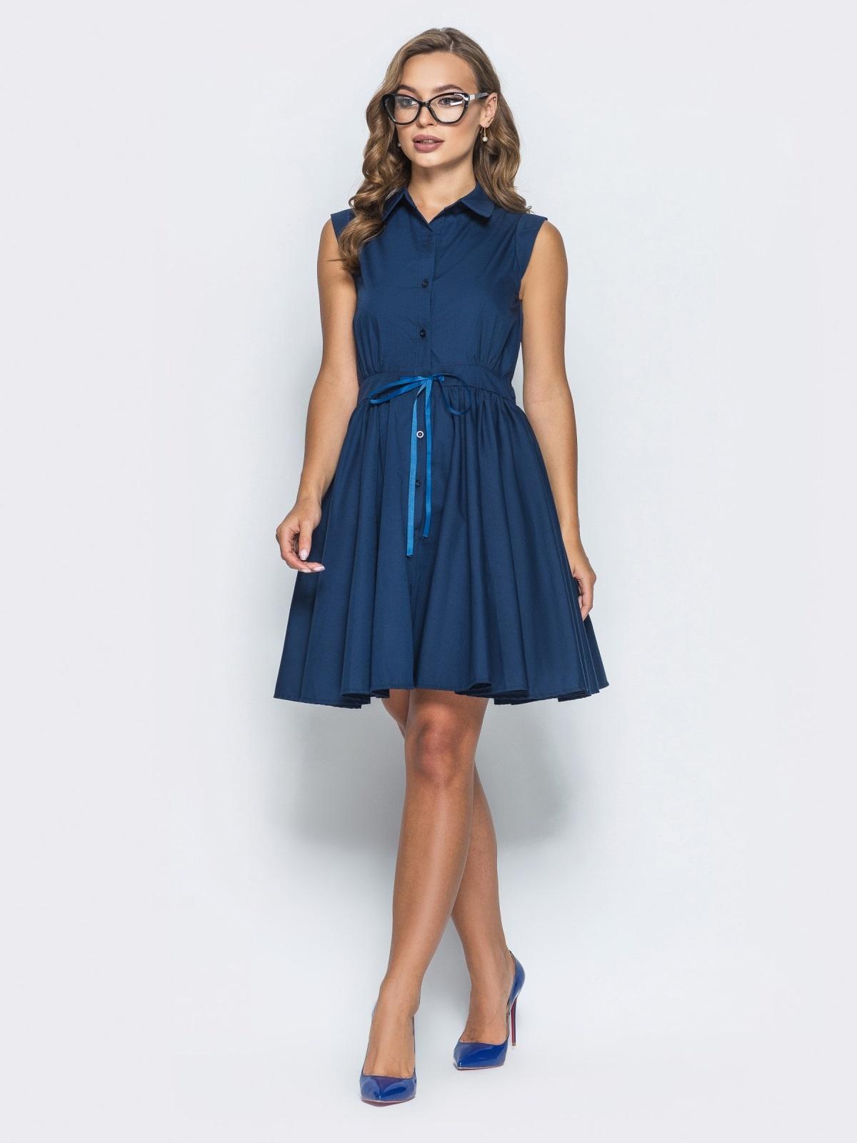 Хлопковое платье с объемной юбкой тёмно-синее 14615, фото 1