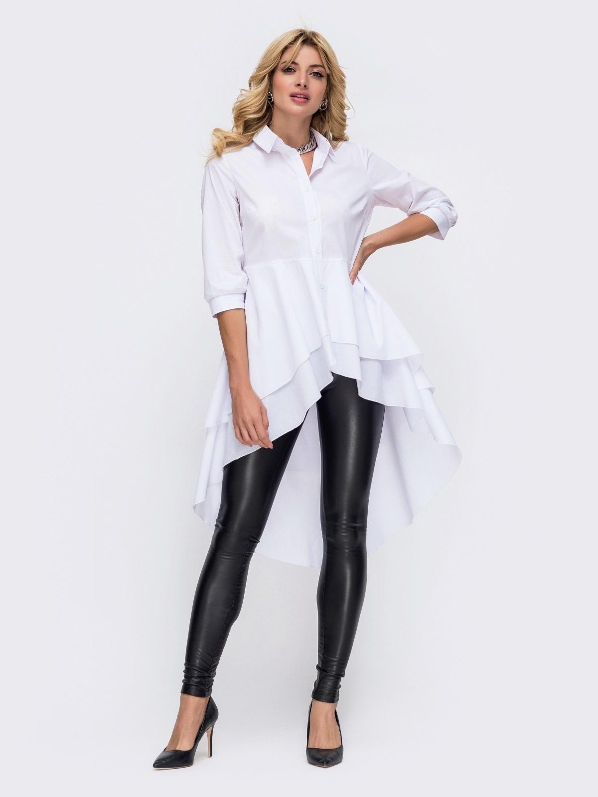 Рубашка белого цвета с объёмной баской 50382, фото 1