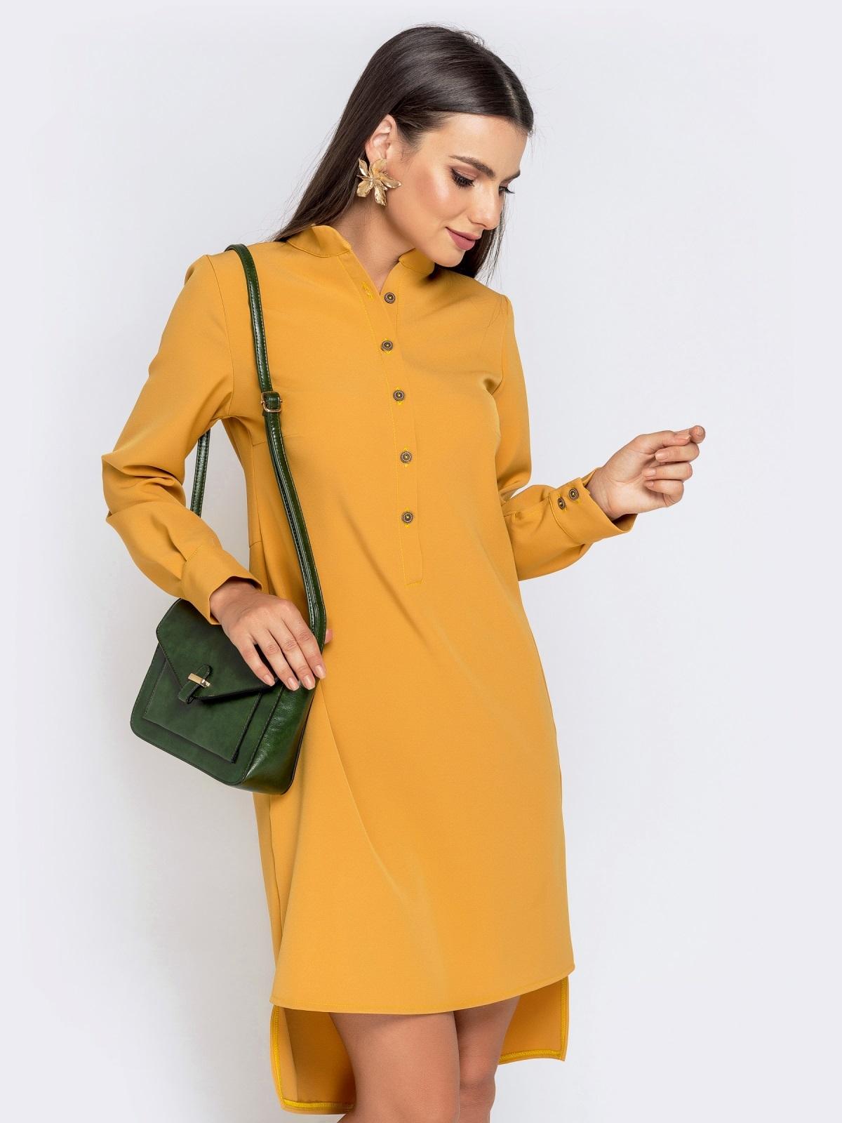 Приталенное платье с удлиненной спинкой желтое 40851, фото 1