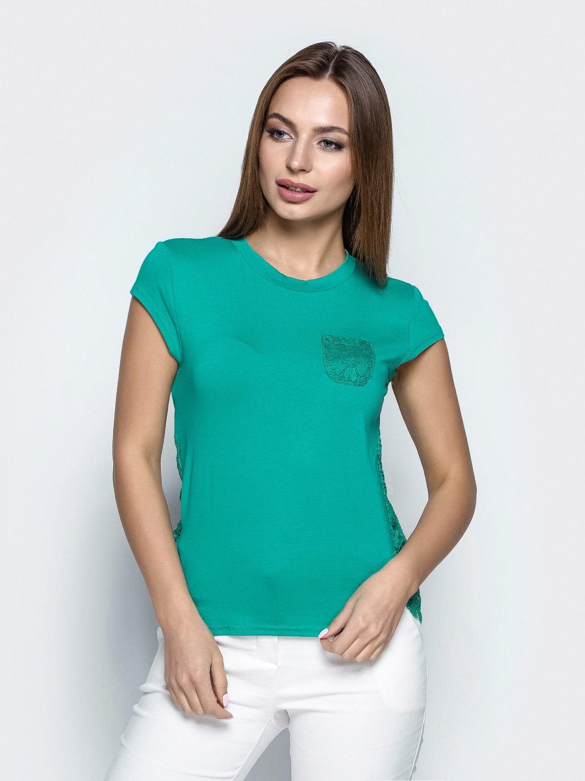 Бирюзовая футболка с гипюровой спинкой 22378, фото 1